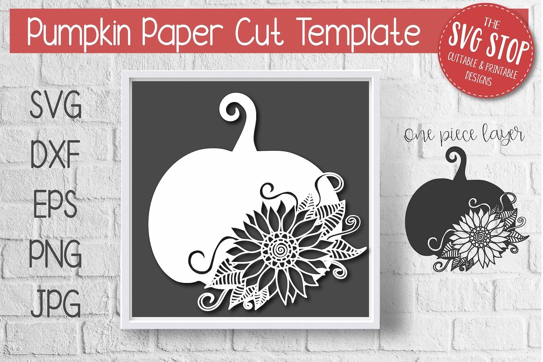 Pumpkin Sunflower Paper Cut Template Design example image 1