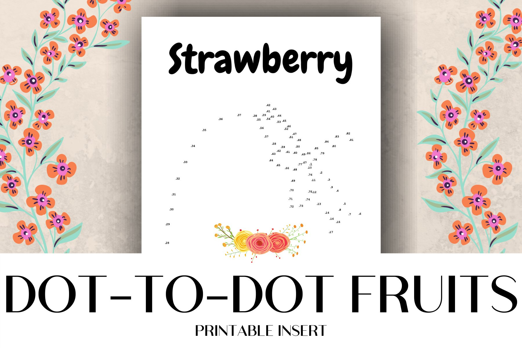 Dot-to-Dot Fruits Printable Activity Pages example image 1