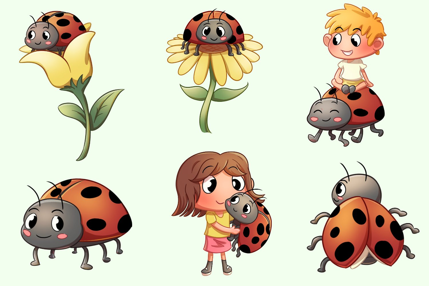 Lady Bug Friends Cute Illustrations example image 3