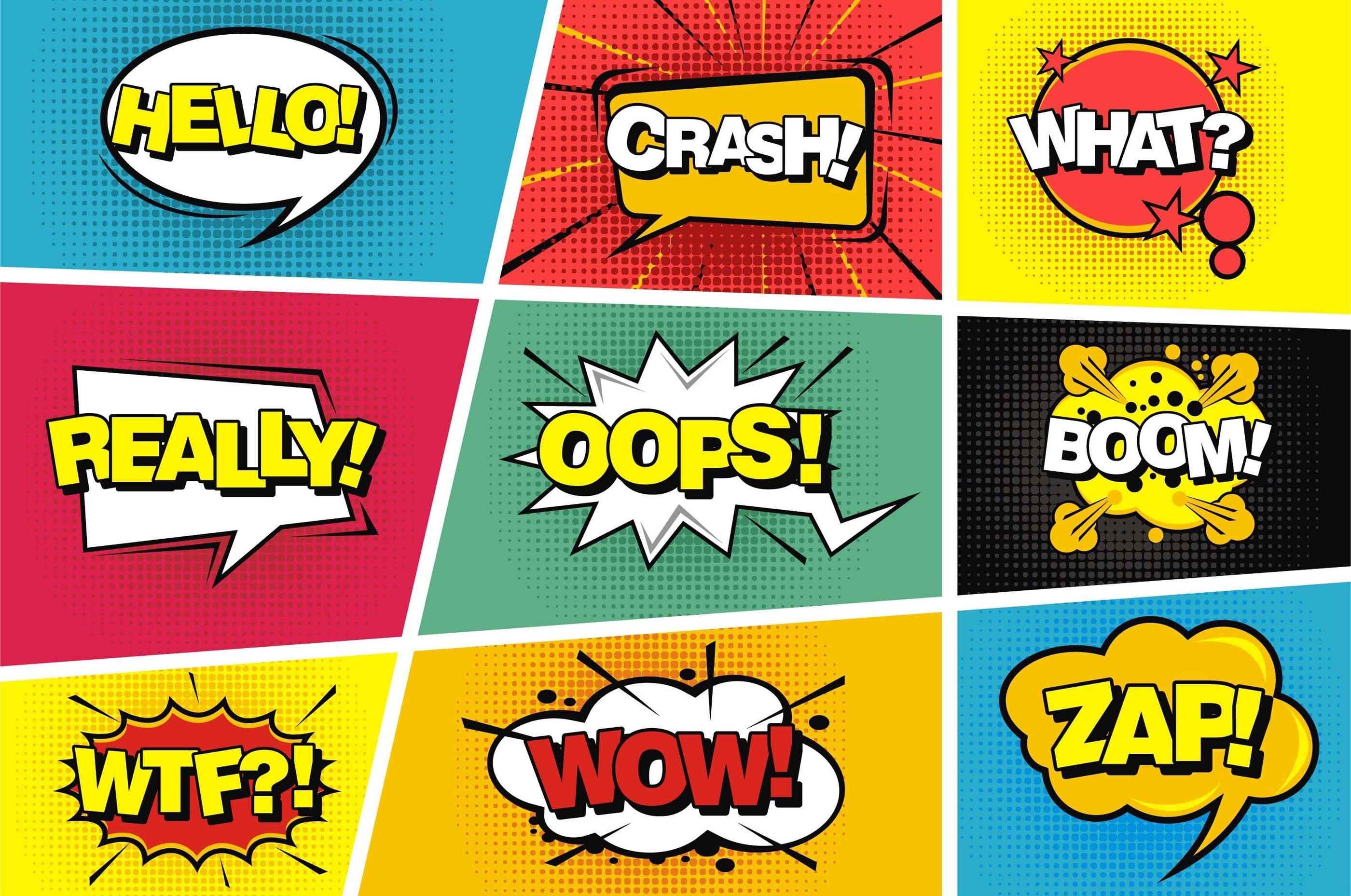 Comic speech pop art style example image 1