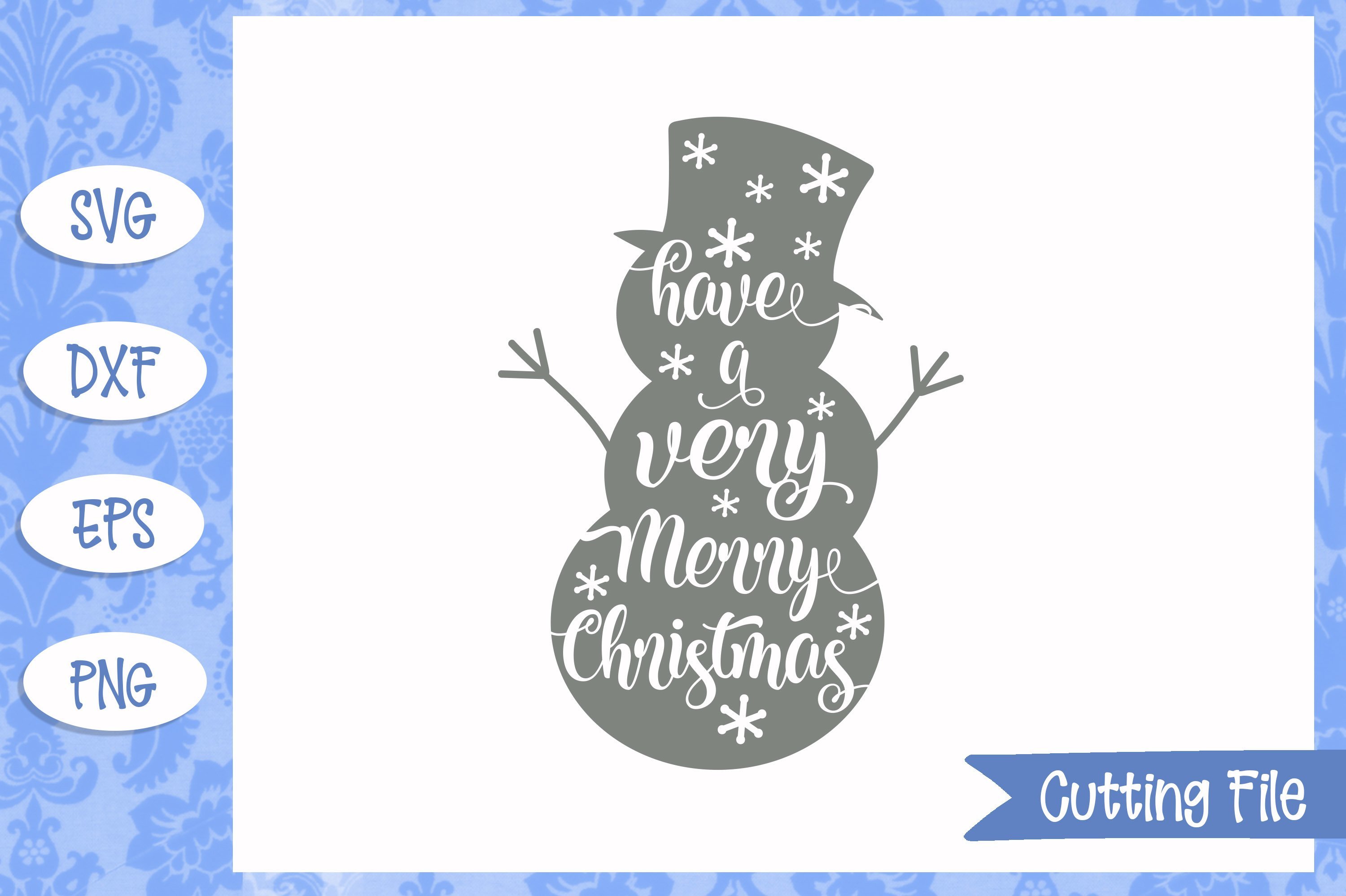Merry Christmas Snowman SVG File example image 1