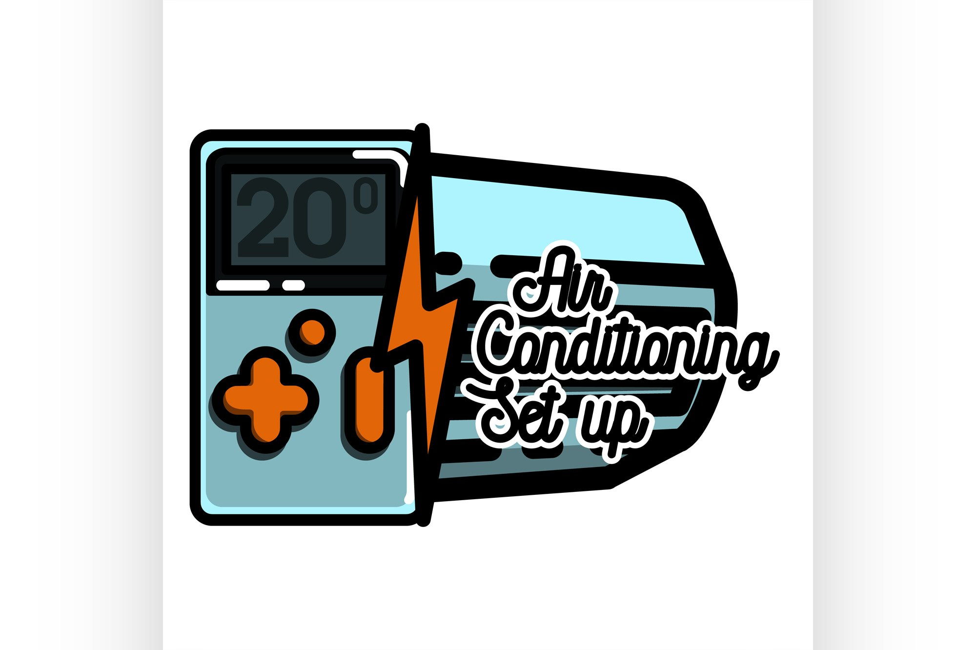 Color vintage air conditioning emblem example image 1