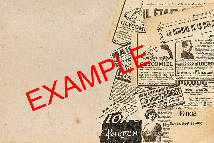 Newspaper pieces. French vintage magazine pages PSD example image 3