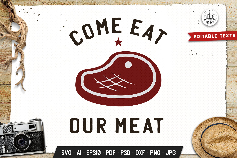 Eat My Meat BBQ Logo Design Retro Vector Badge Cut Files example image 1
