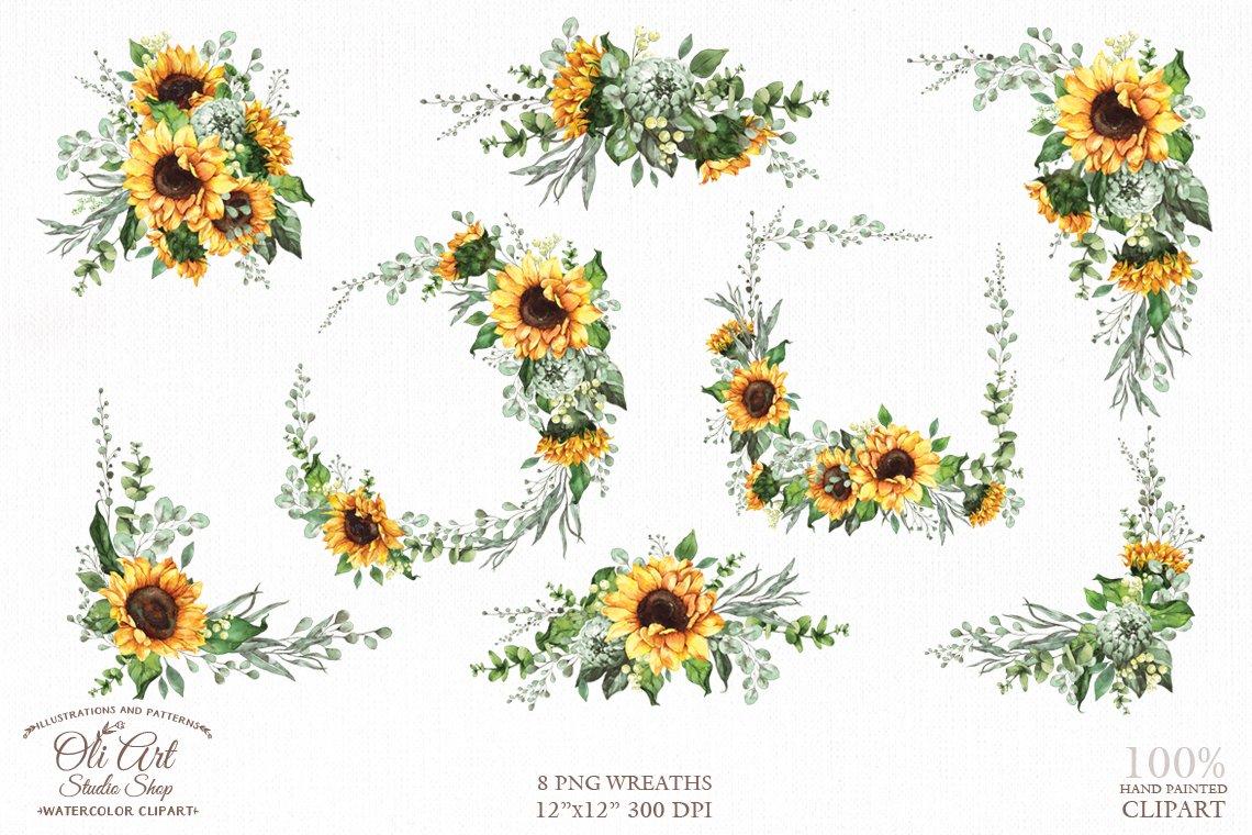 Sunflower Clipart Watercolor Wreath 707429 Illustrations Design Bundles