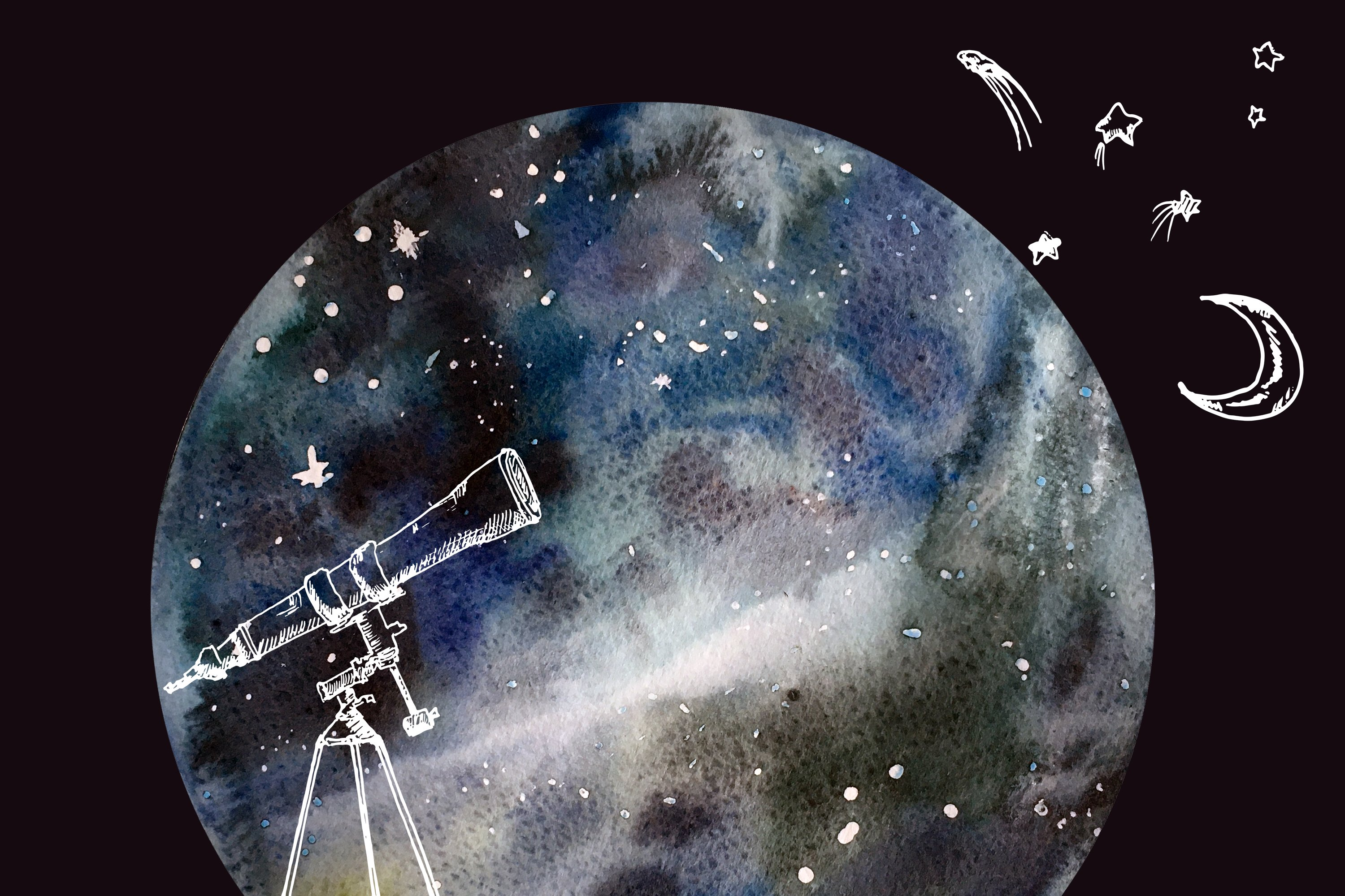 Astronomy watercolor set example image 3