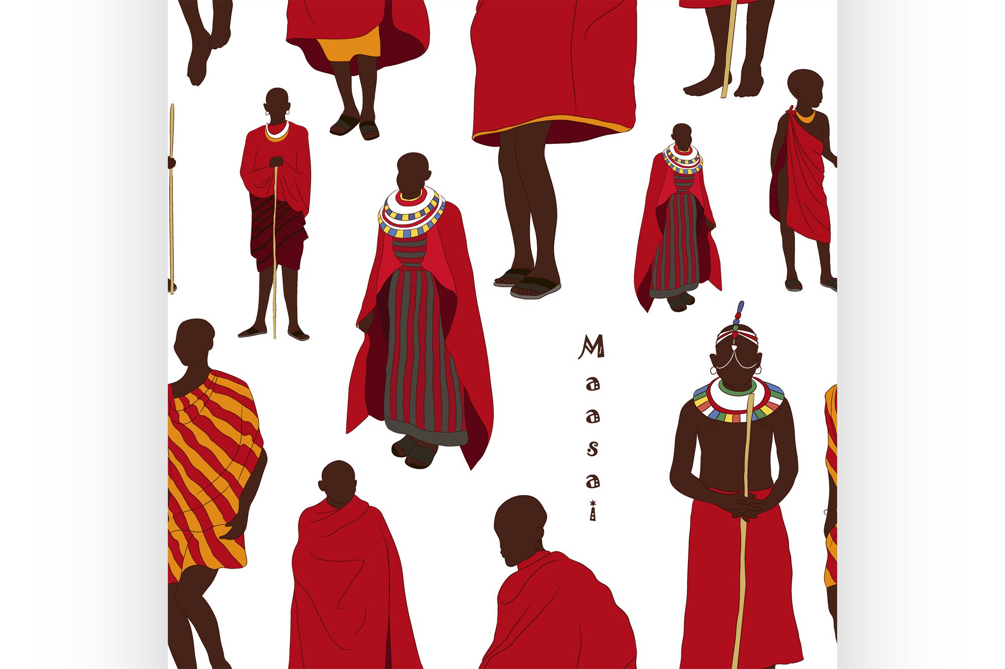 Maasai couple african people pattern example image 1