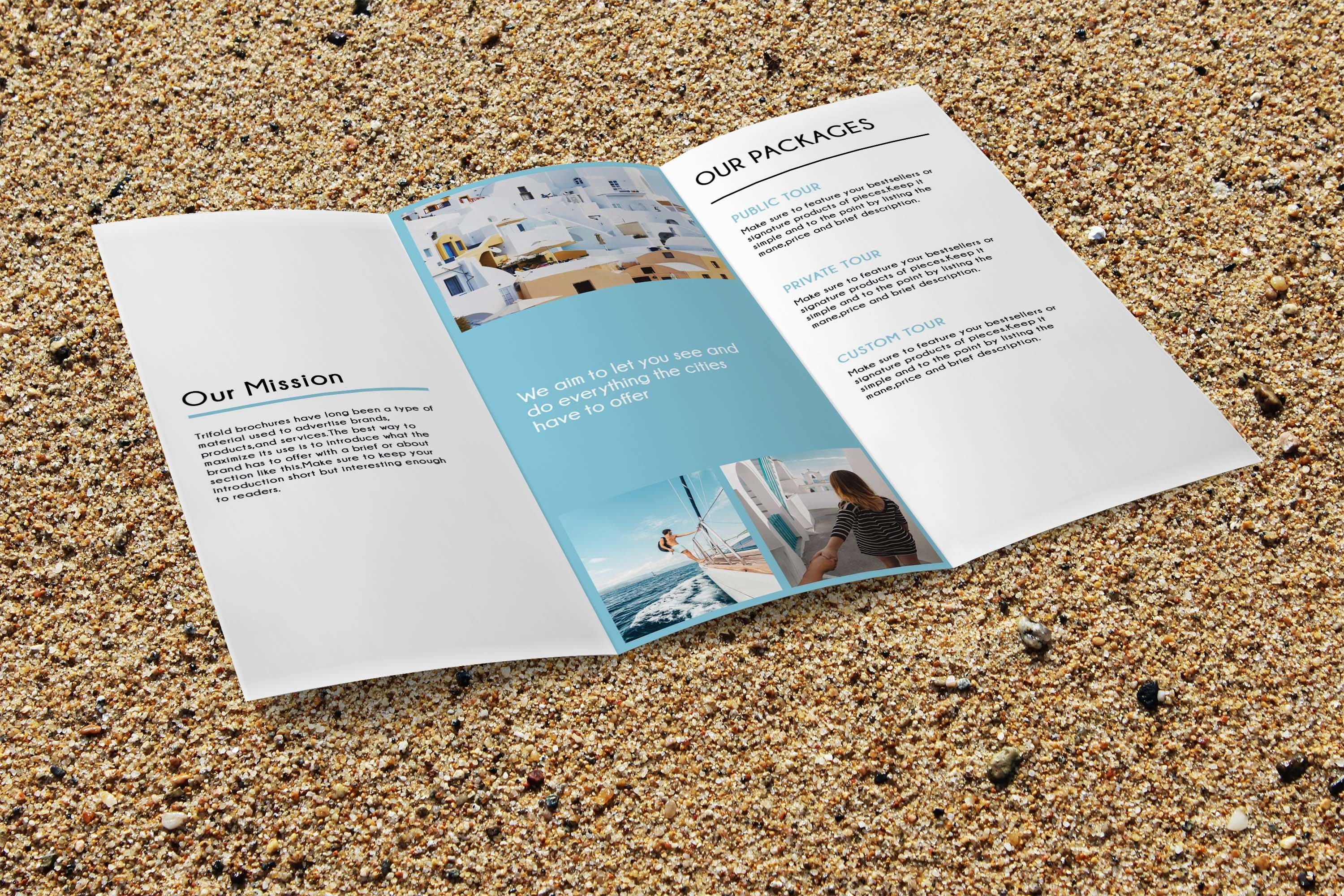Trifold Agency Travel Brochure Editable PSD Templates example image 5