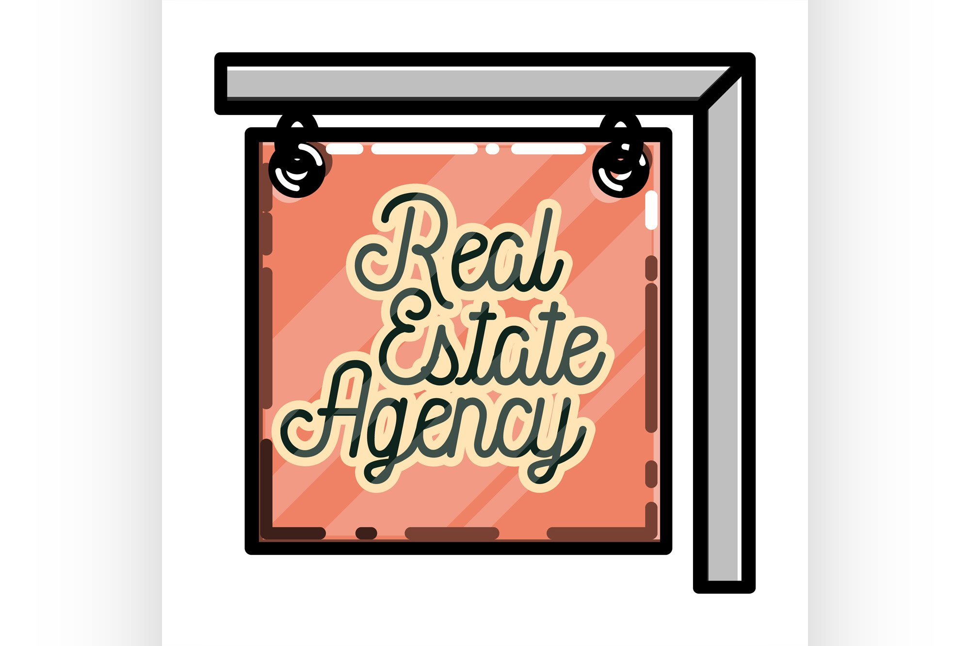 Color vintage real estate agency emblem example image 1