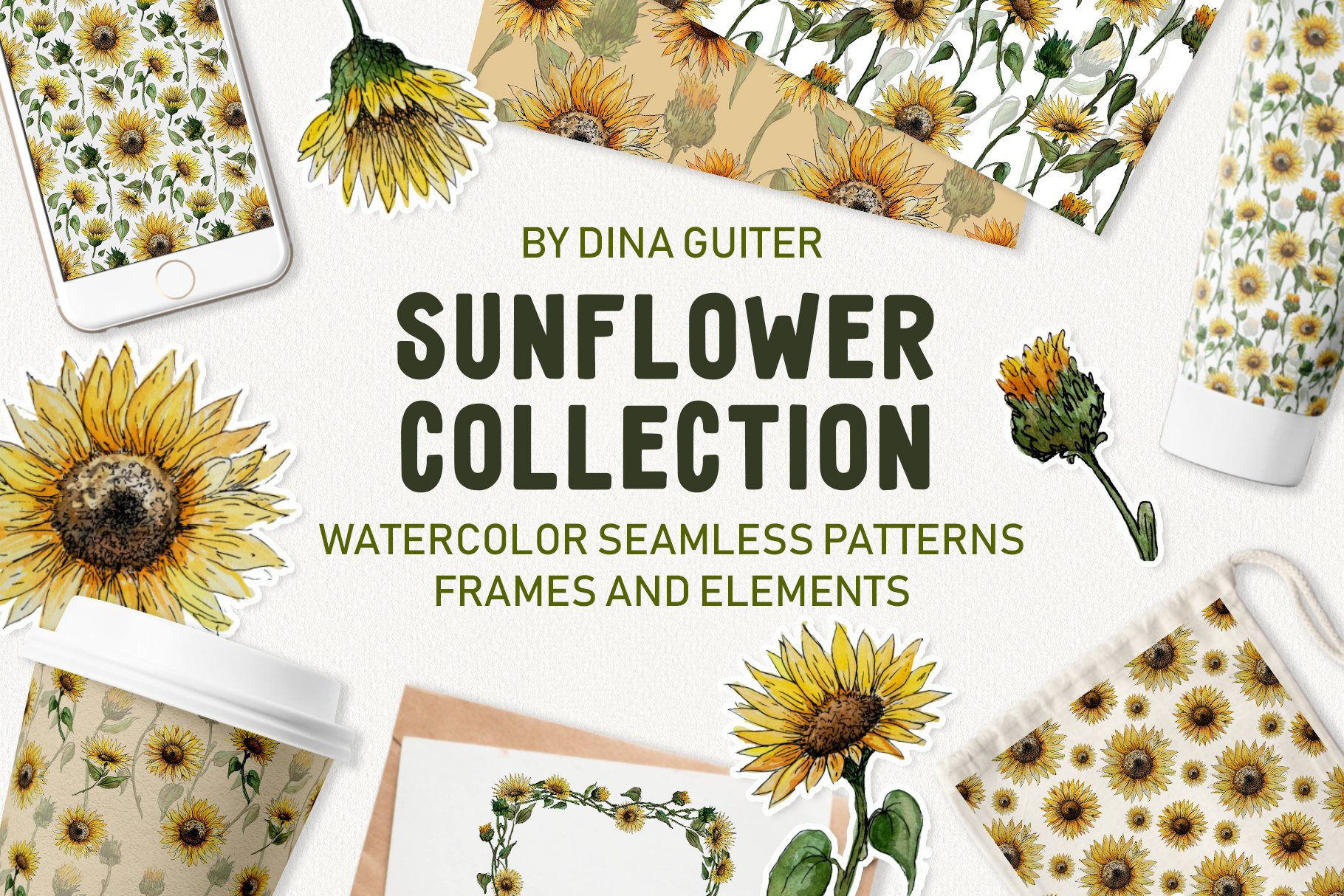Watercolor Sunflower Clipart Collection example image 1