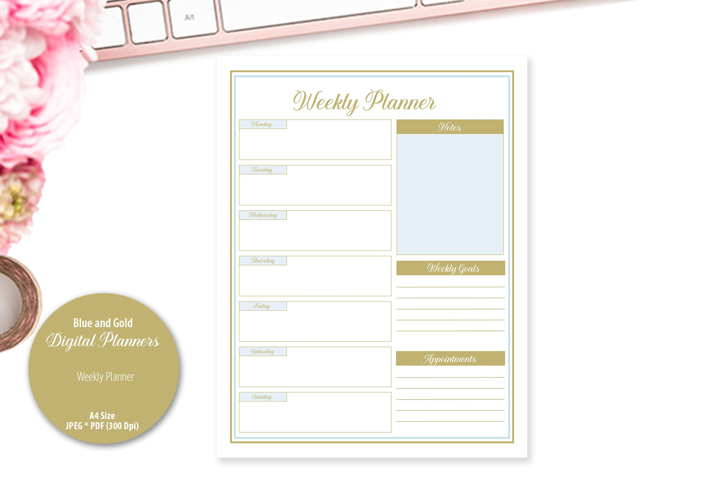Blue and Gold Digital Planner example image 3
