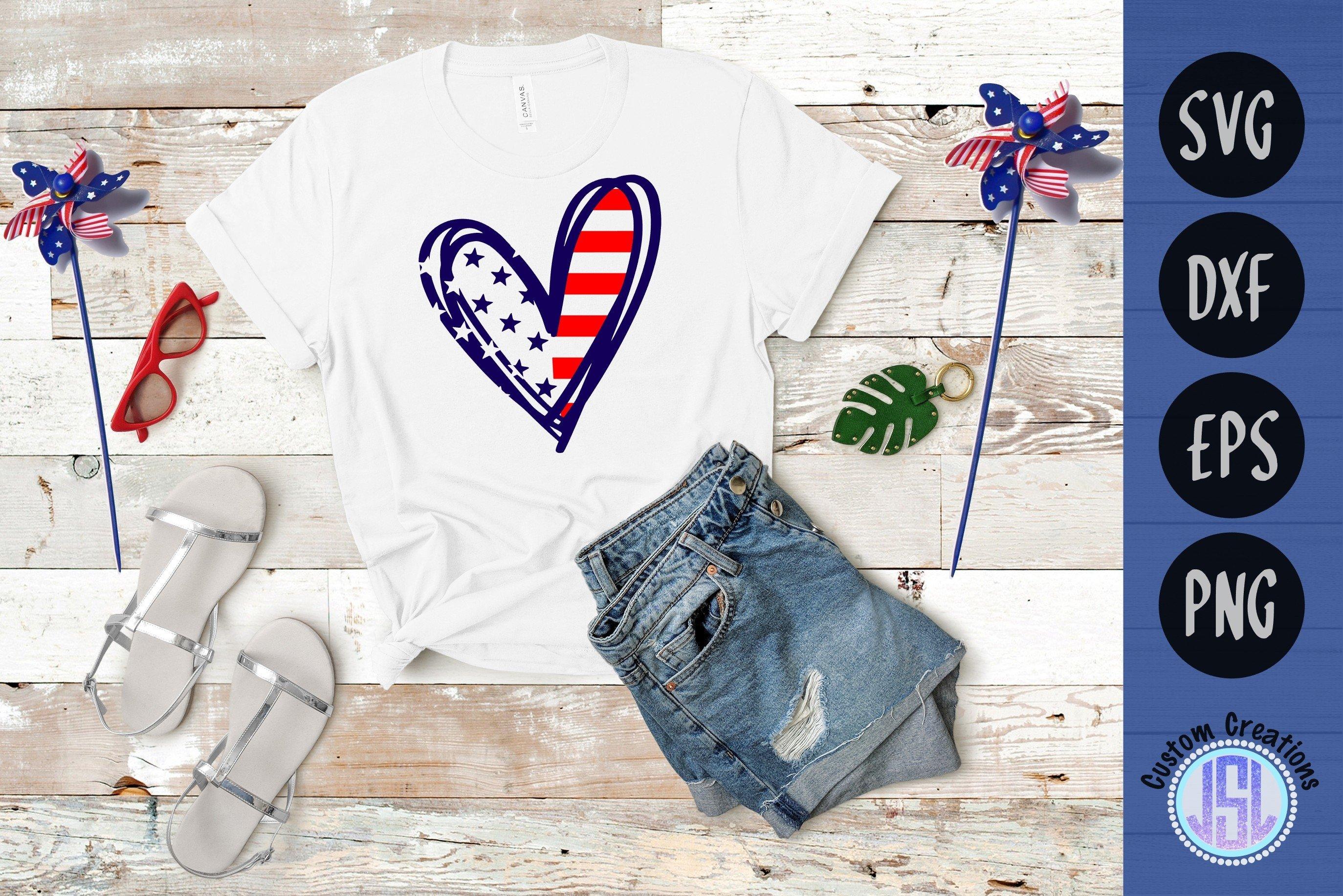 Patriotic Heart | Patriotic SVG Cut File | SVG DXF EPS PNG example image 1