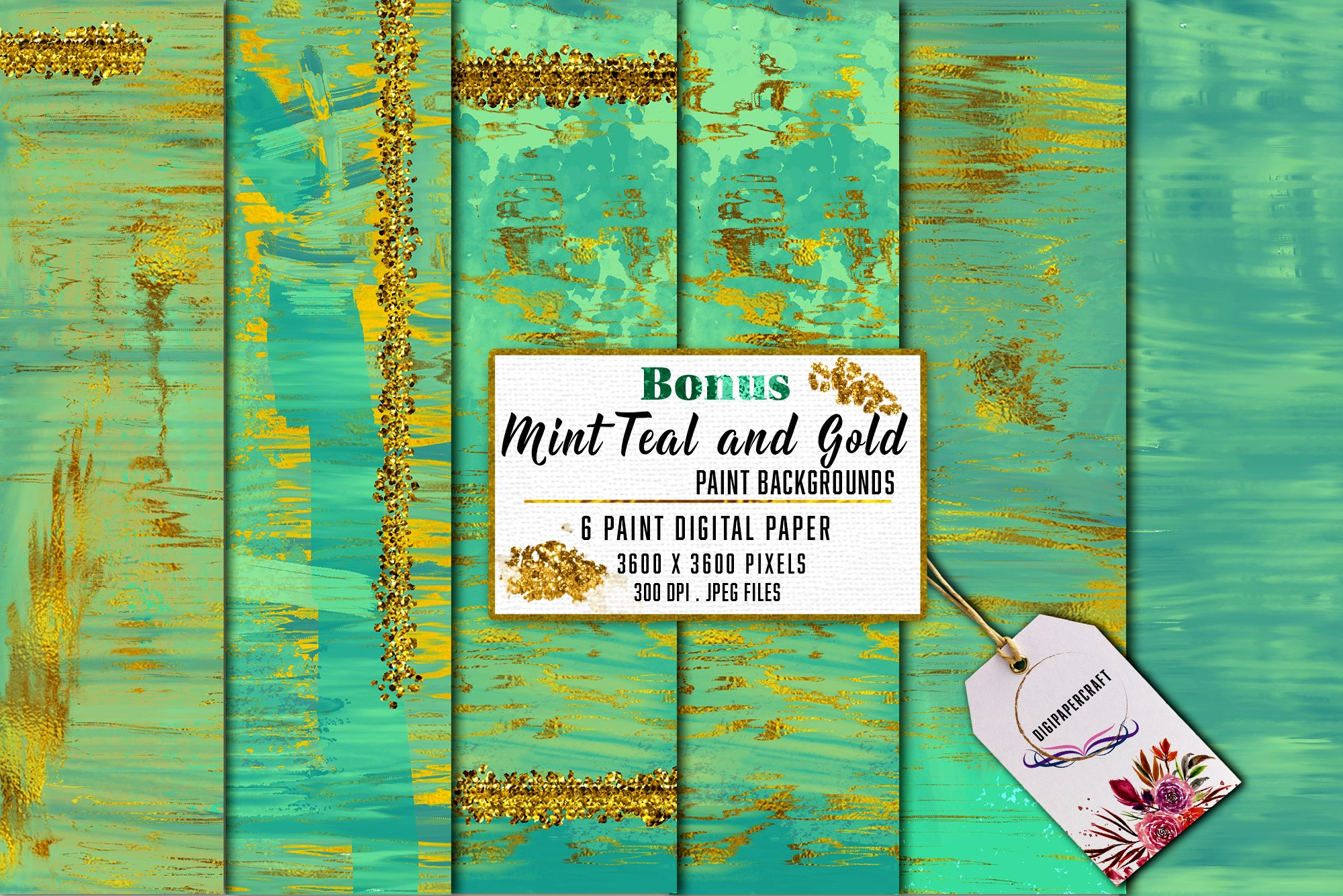 Gold Marble & watercolor geometric templates, Abstract Paper example image 7
