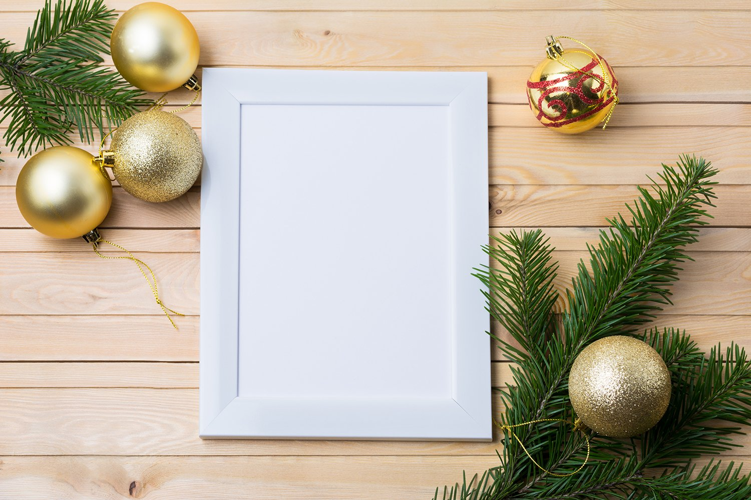 White rustic frame mockup with golden Christmas ornaments example image 2