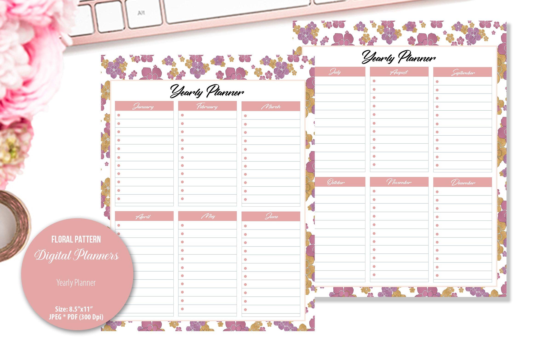 Rose Floral Pattern Digital Planner example image 5