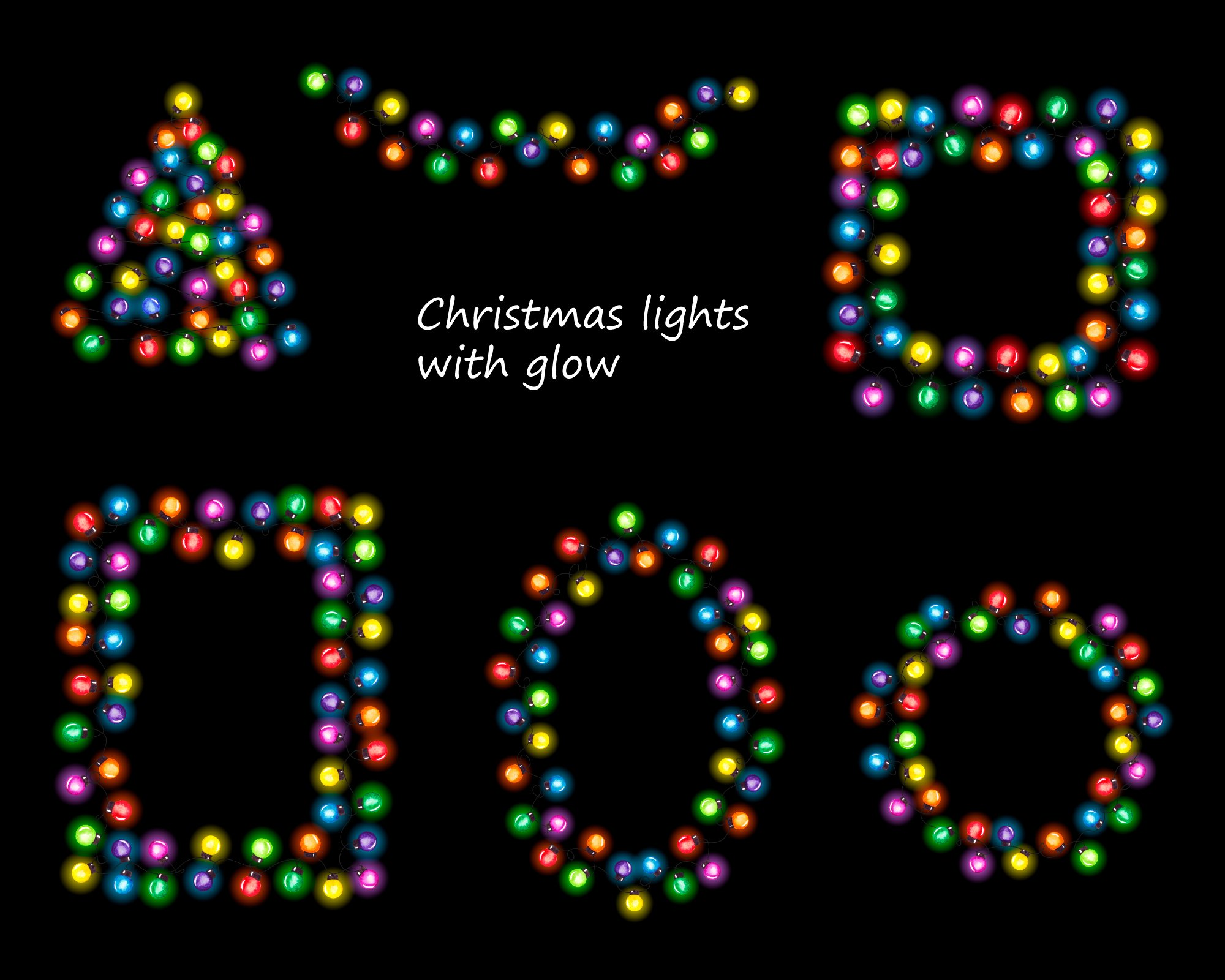 String of Christmas lights clipart, border, frame png example image 2