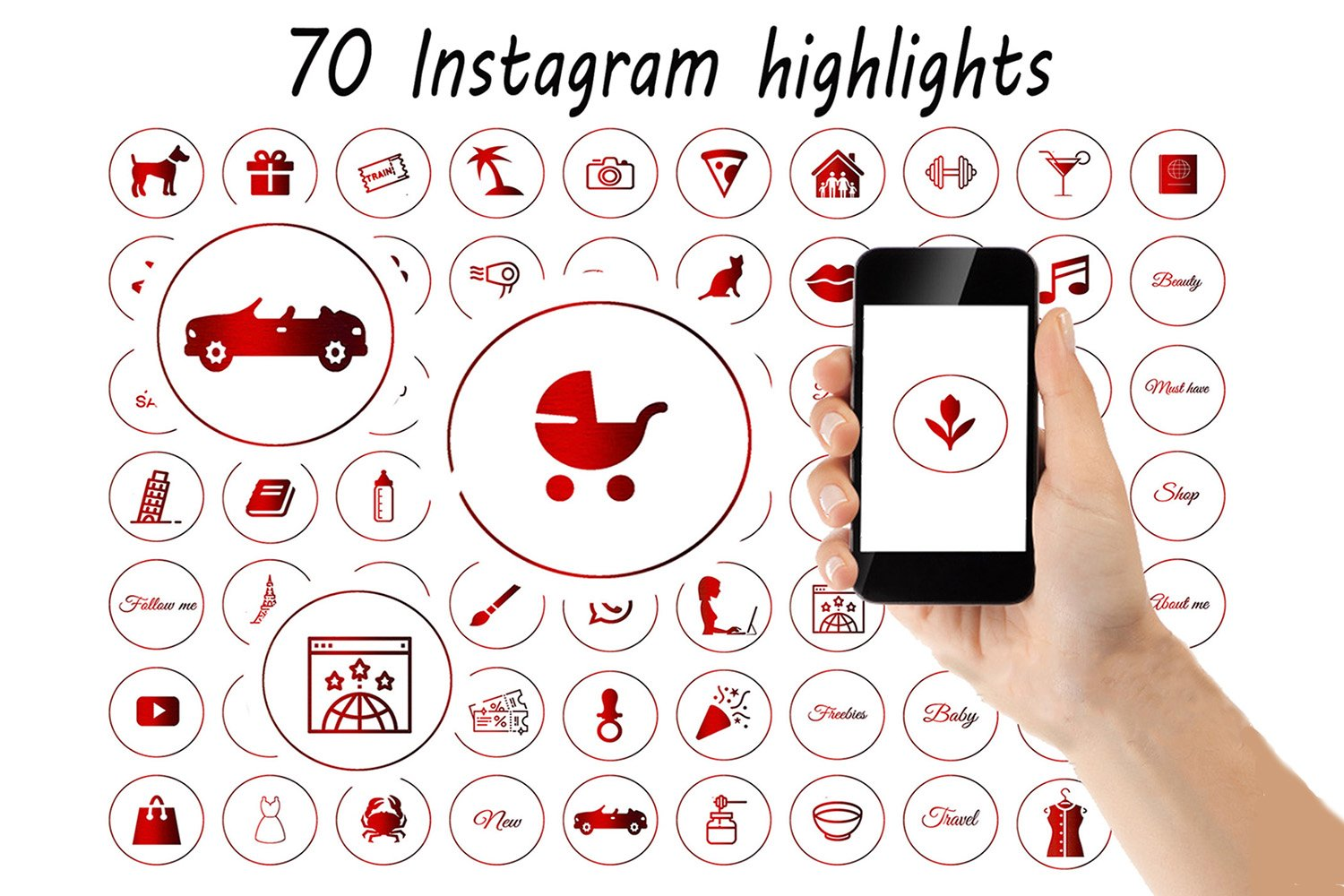 70 Red Instagram Highlight Icons Red Story Covers 645808 Icons Design Bundles