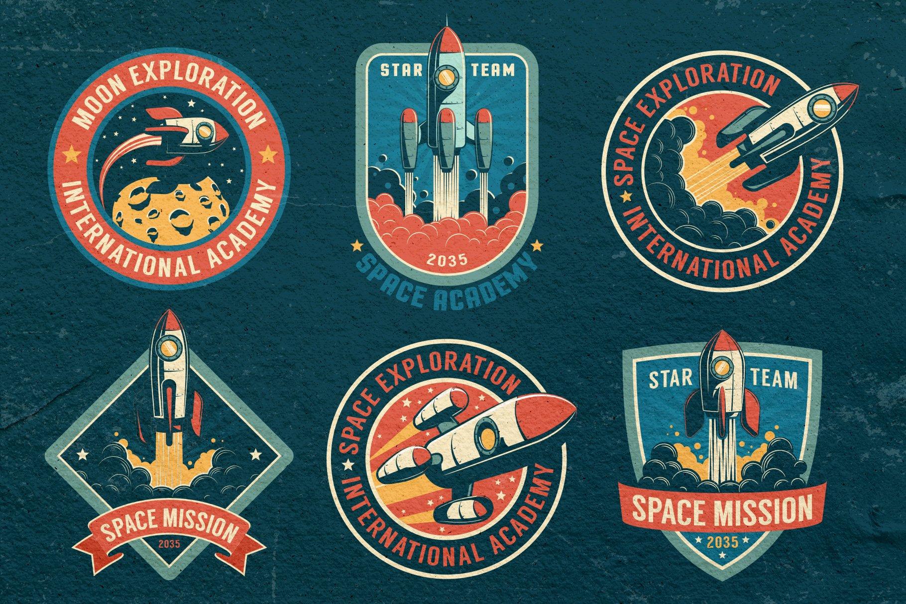 Space Rocket Retro Badge example image 4