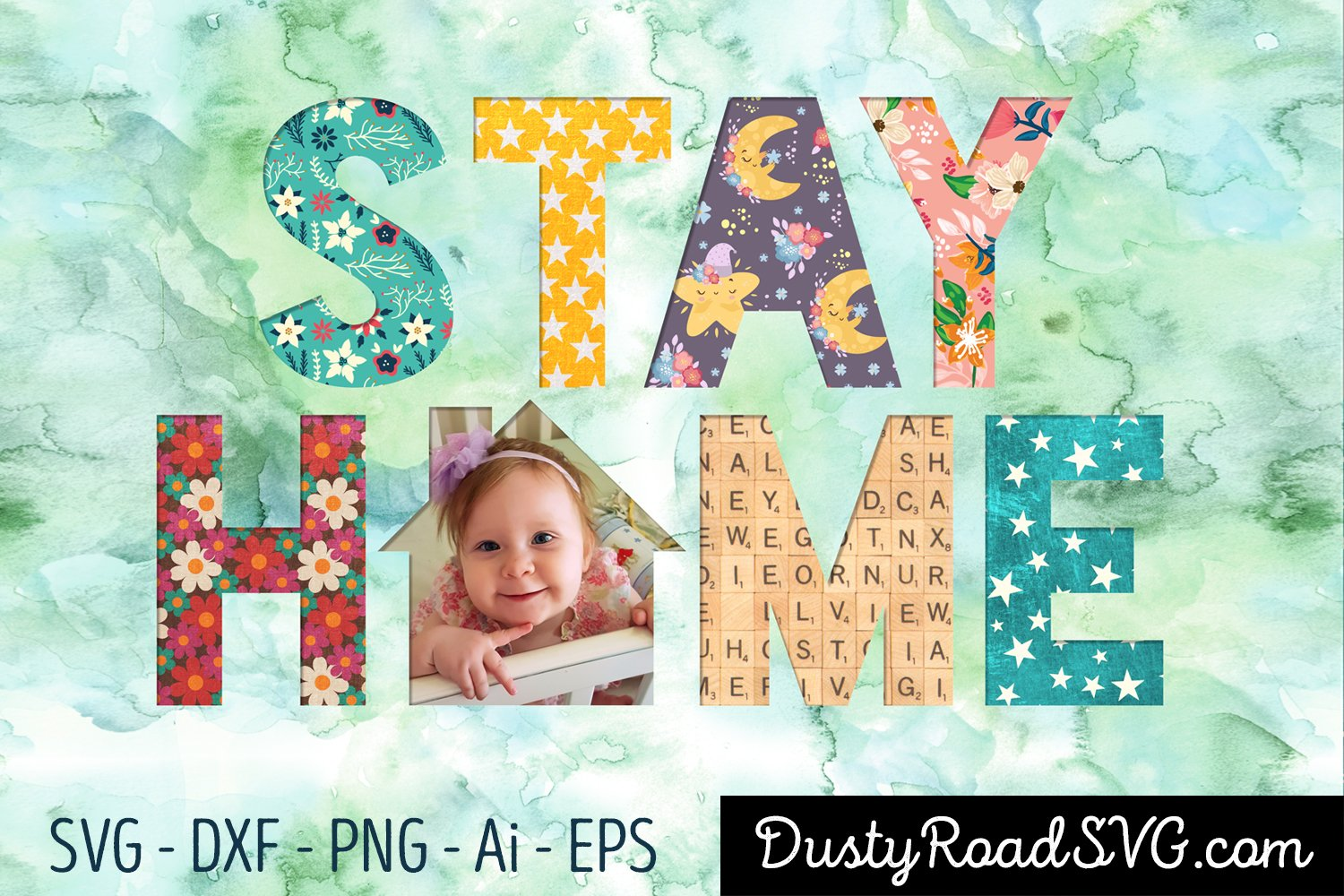STAY HOME- Scrapbook - cut file - svg png eps dxf example image 3