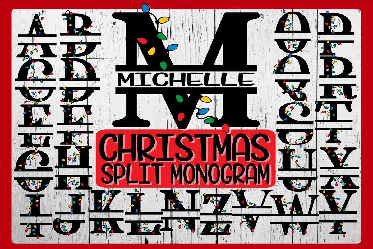 CHRISTMAS LIghts Split Monogram - SVG PNG EPS DXF-26 Designs