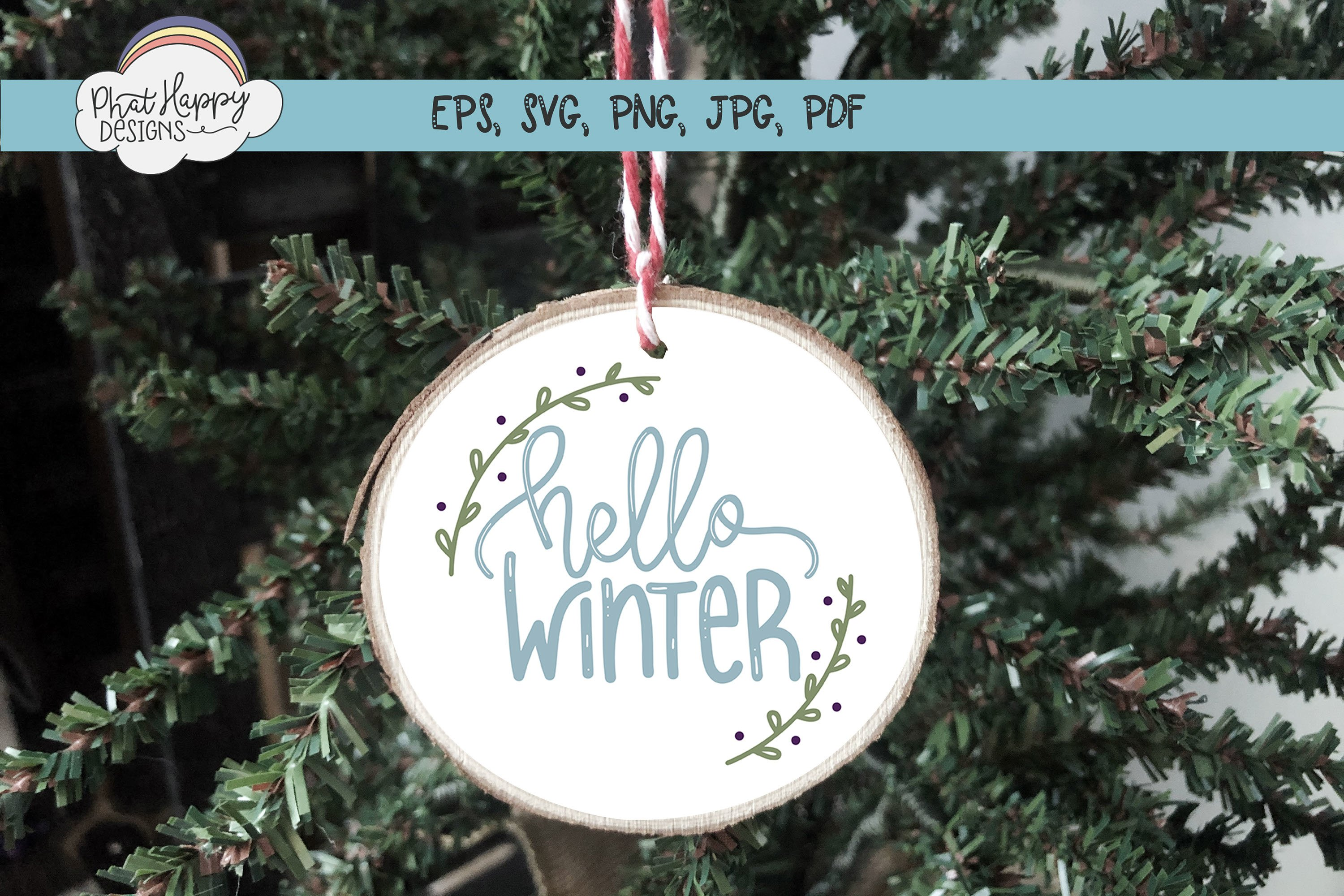 Hello Winter - Hand Lettered Christmas SVG example image 4