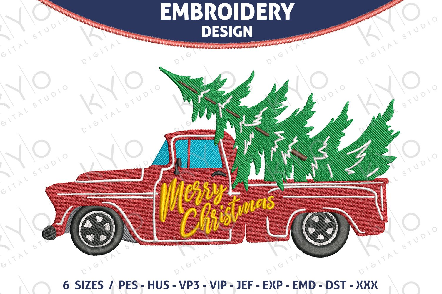 Red Old Christmas Truck With Tree Embroidery Design 787638 Designs Design Bundles