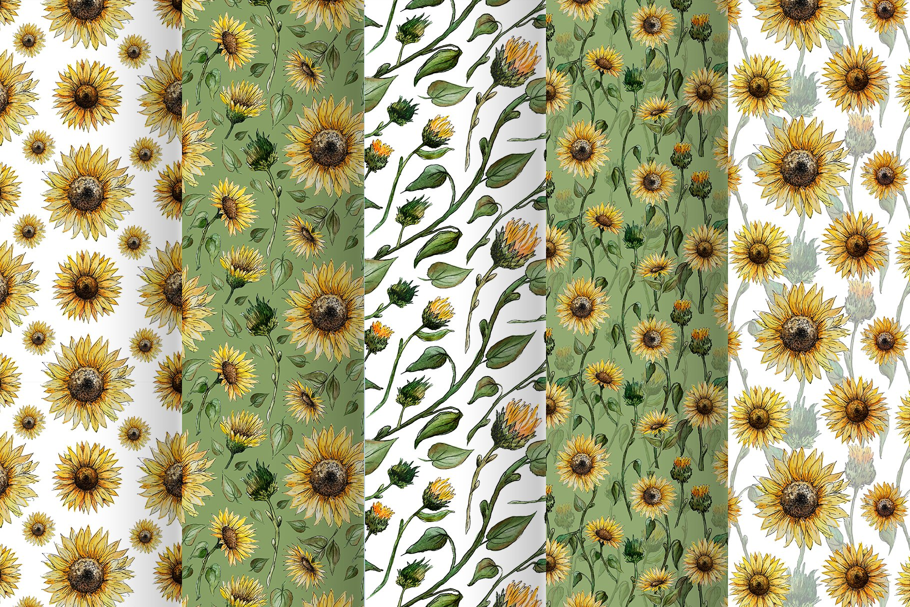 Watercolor Sunflower Clipart Collection example image 7
