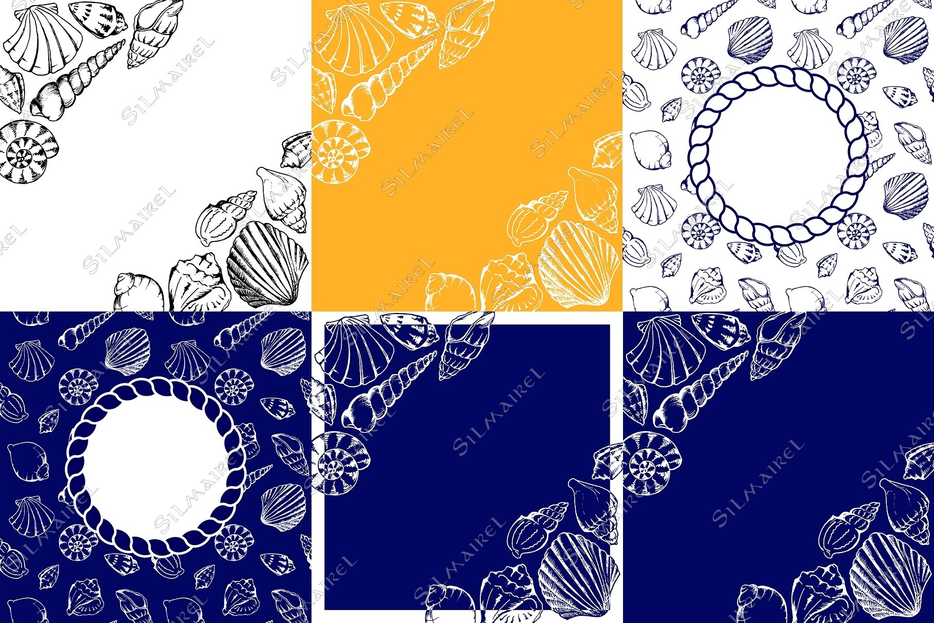 Seashell ink set vector example image 4