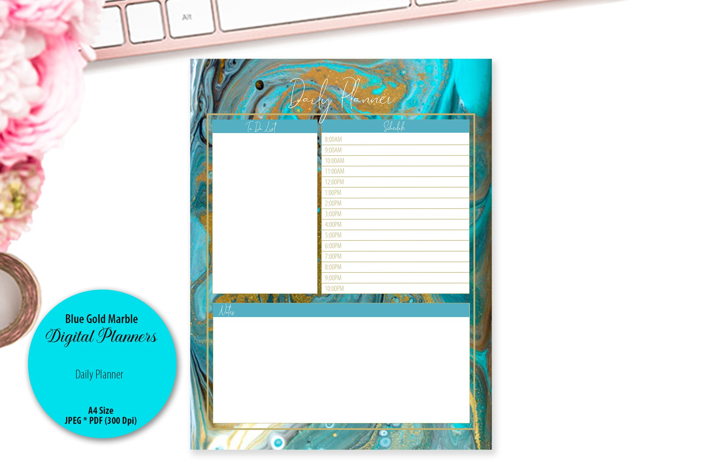 Blue Gold Marble Digital Planner example image 2