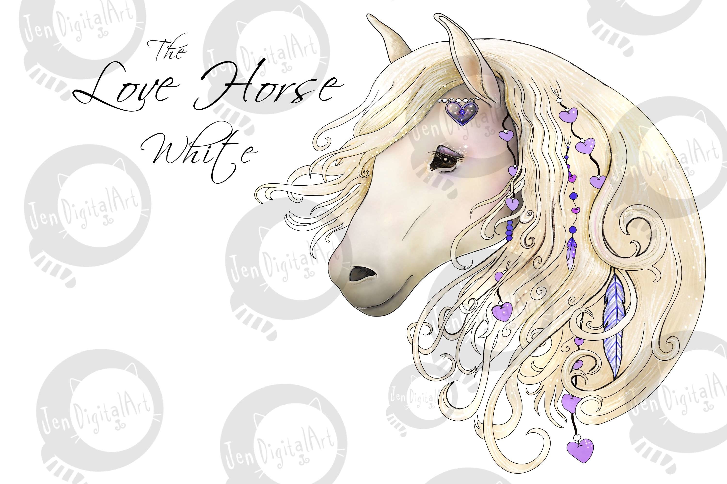 The Love Horse Magical Clip Art Set | PNG/JPEG Illustrations example image 6