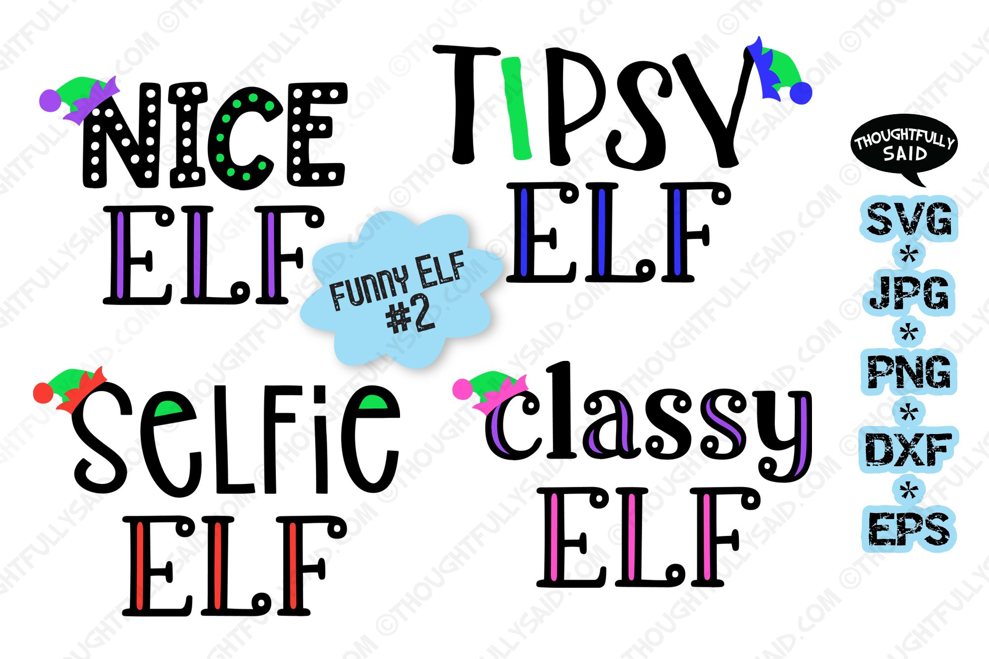 Funny Elf #2, 4 designs, SVG JPG PNG EPS DXF, Christmas example image 1