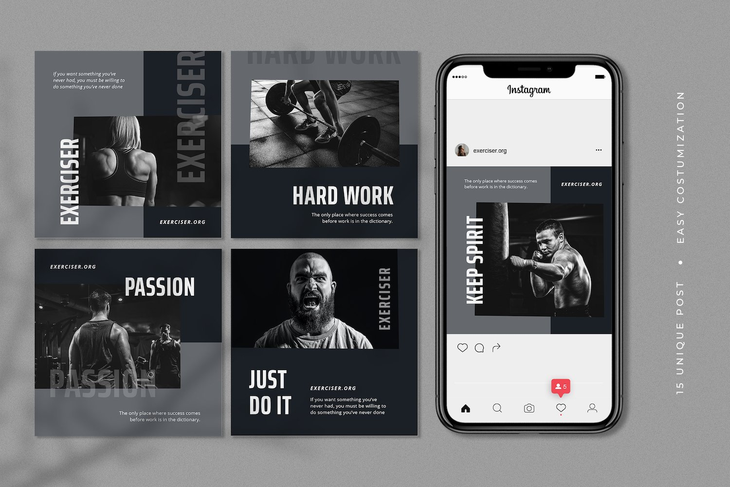 Exerciser - Gym & Fitness Instagram Post Template example image 2