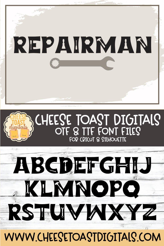 Repairman - a Fun Tool Font example image 8