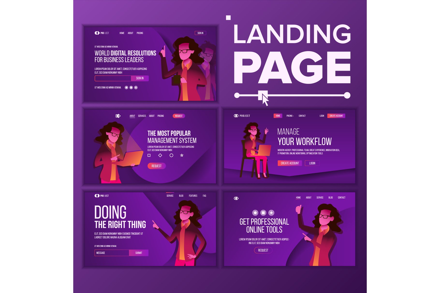 Landing Page Set Vector. Woman. Workflow Management. example image 1