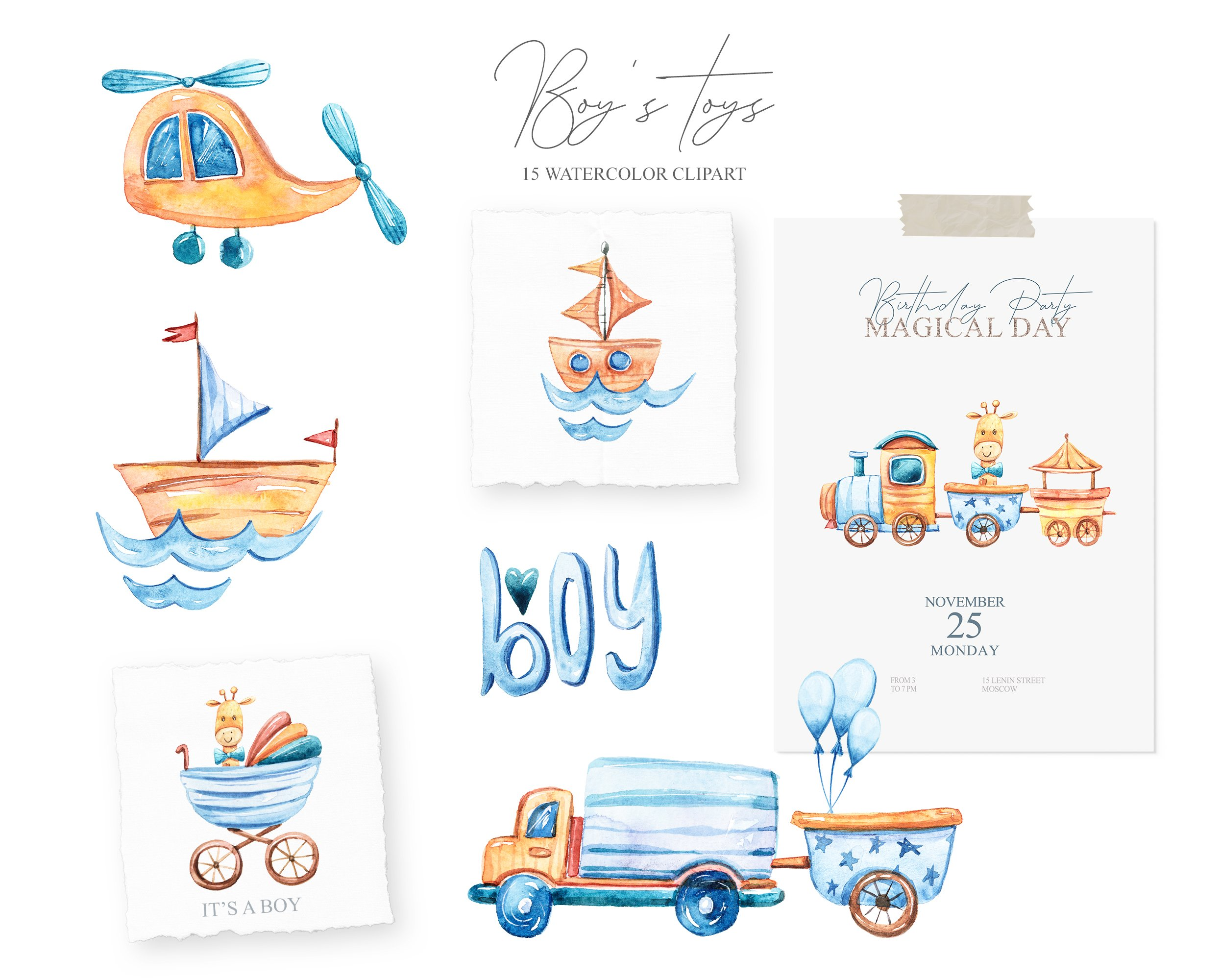 Watercolor cute boy's world. Toy transport clipart example image 2