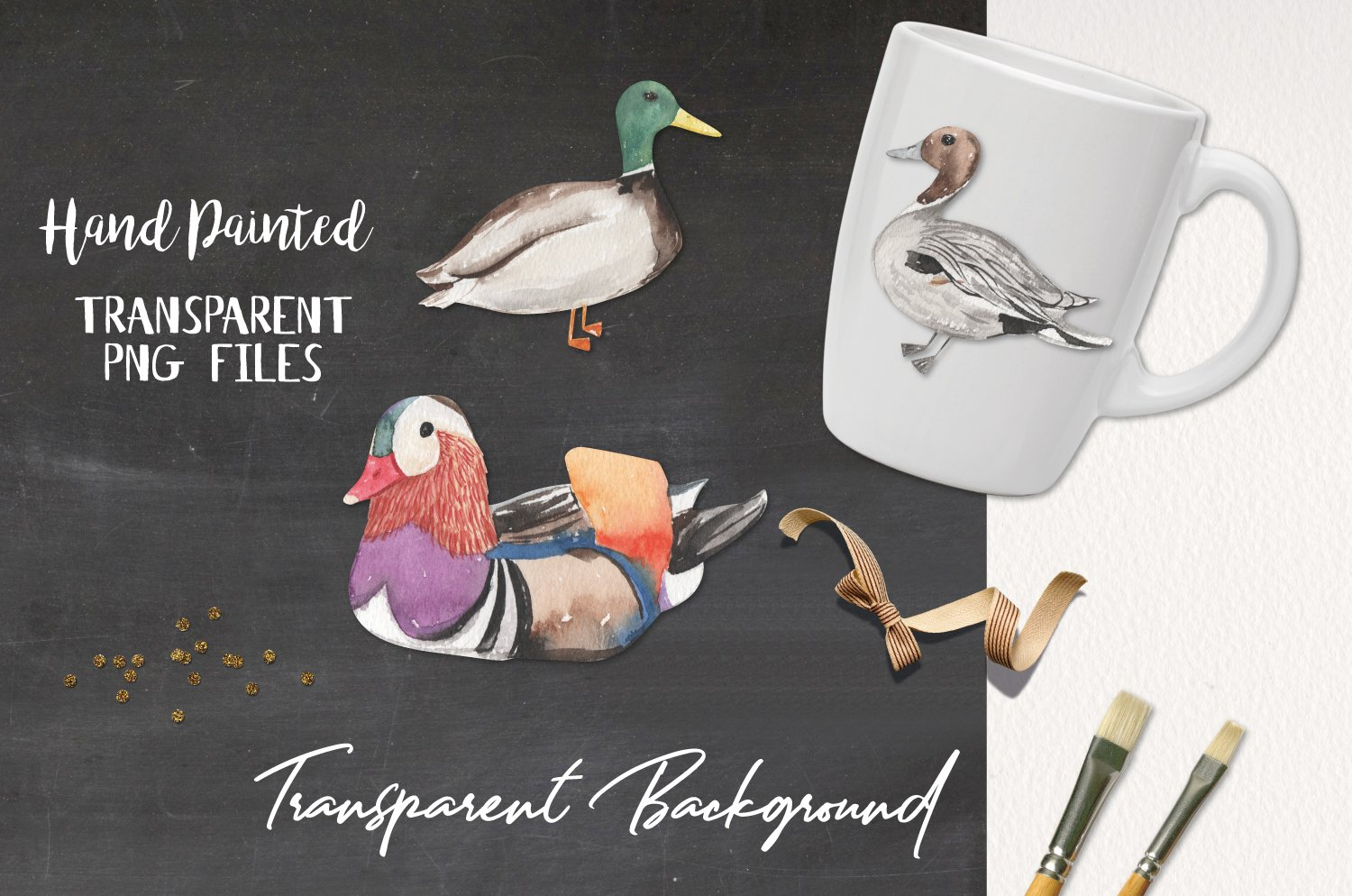 Ducks Watercolor Elements Hand Painted Birds Detailed example image 2