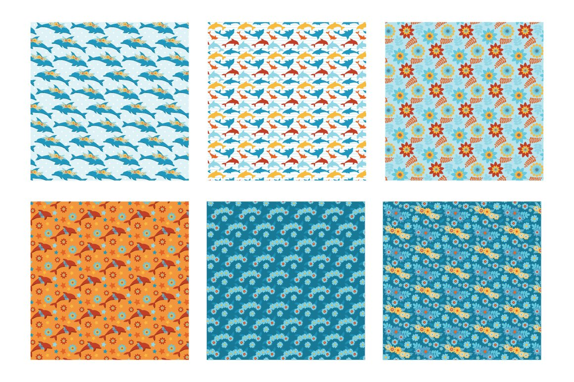 Floral Dolphins Pattern collection, vector ai, eps and example image 3