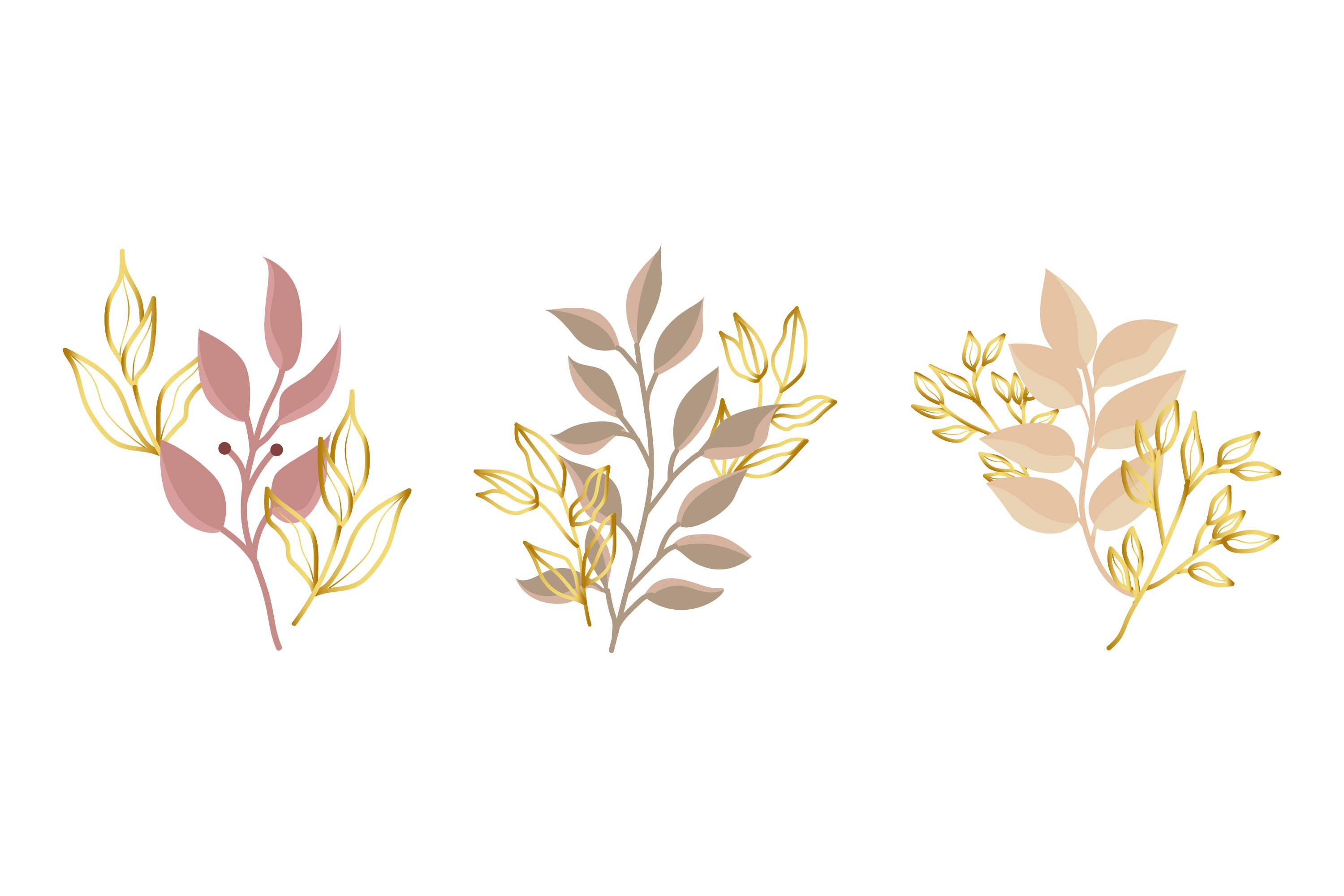 Gold Green Tropical Leaves example image 1