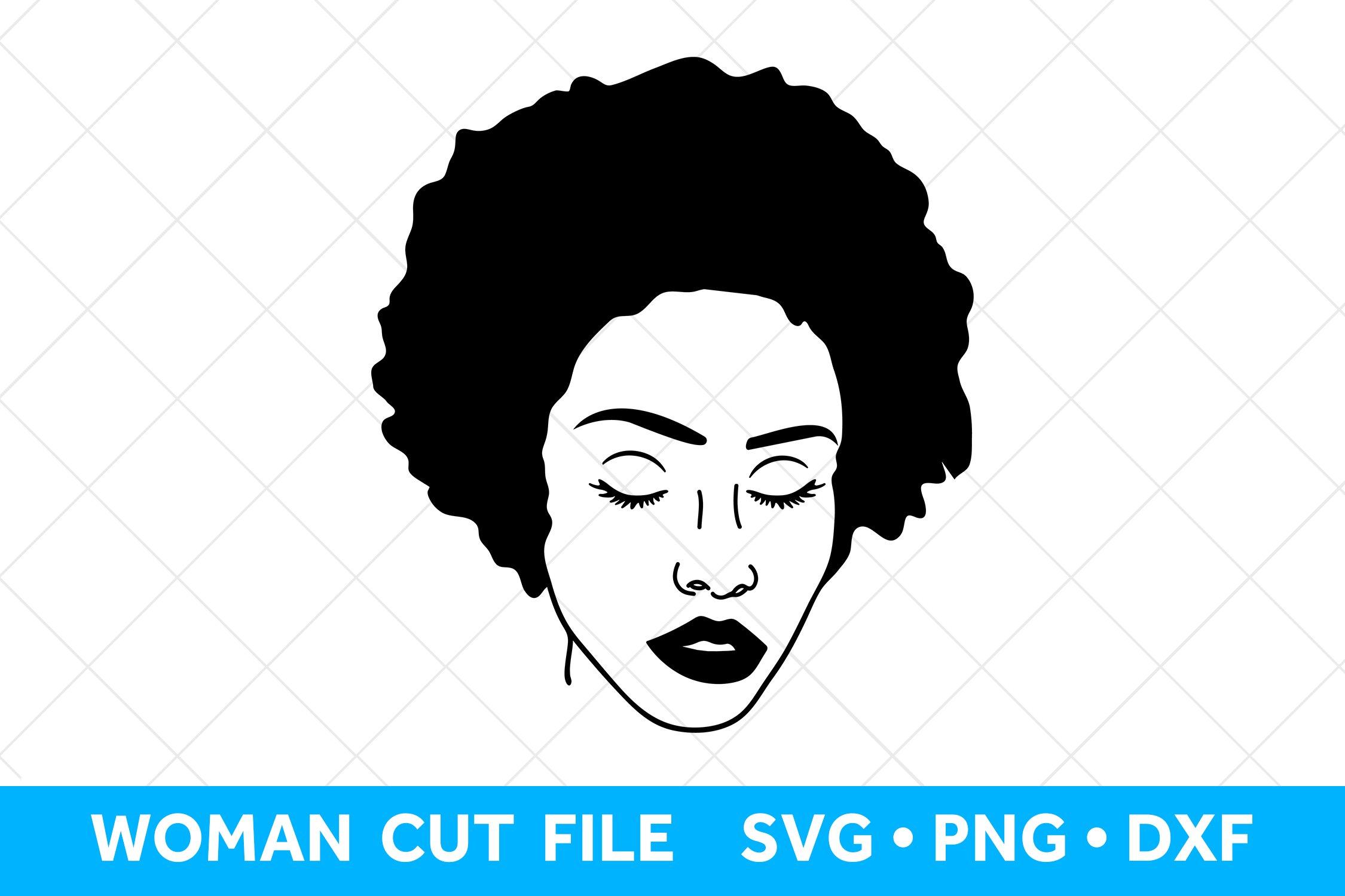 Black Girl Silhouette Women Clip Art Blessed Women Clipart Cut for Commercial Use Eps Black Afro Girl SVG Cricut File DXF Png