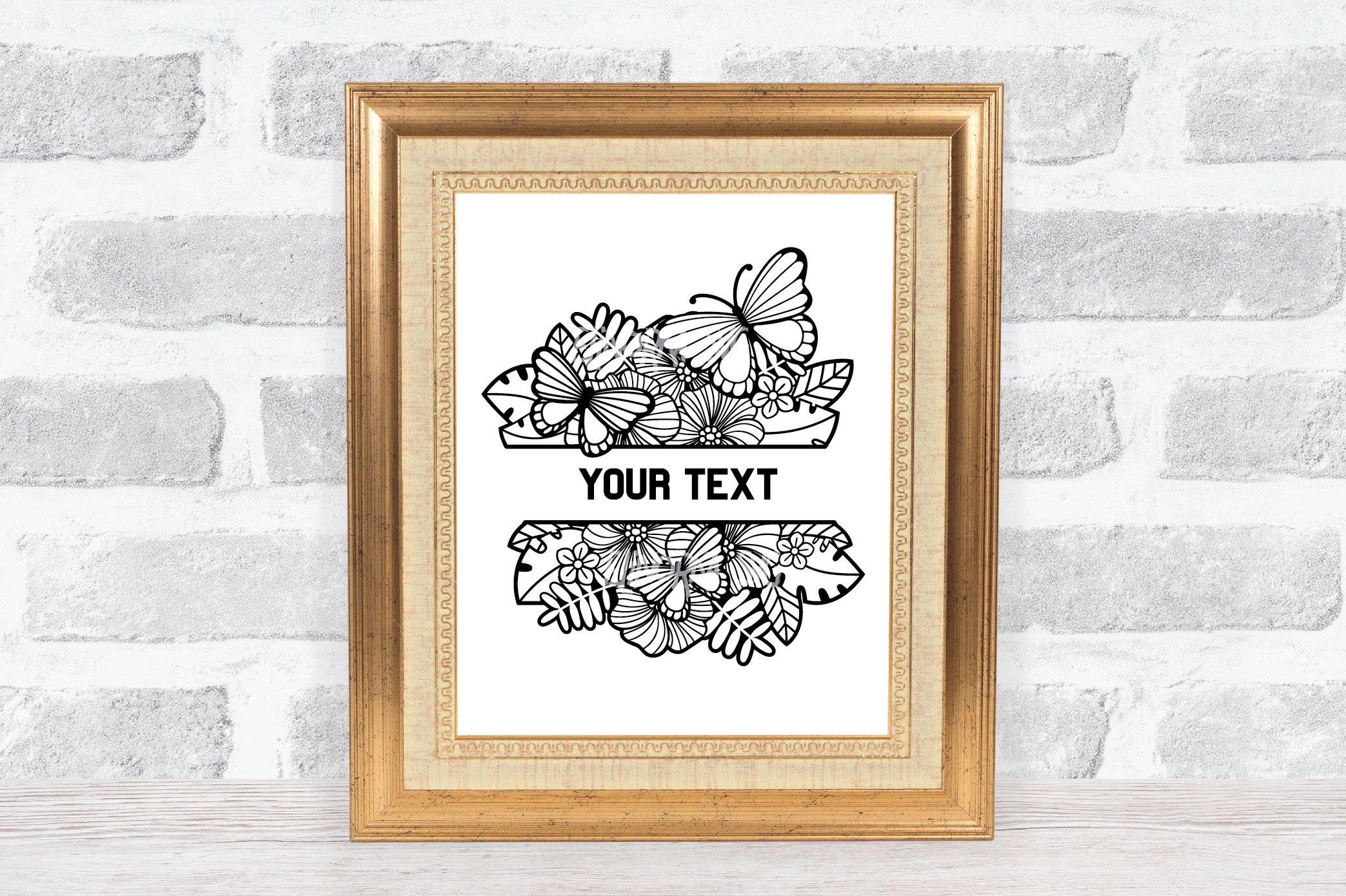 Split Monogram SVG | Floral SVG | Butterfly SVG | Summer SVG example image 11