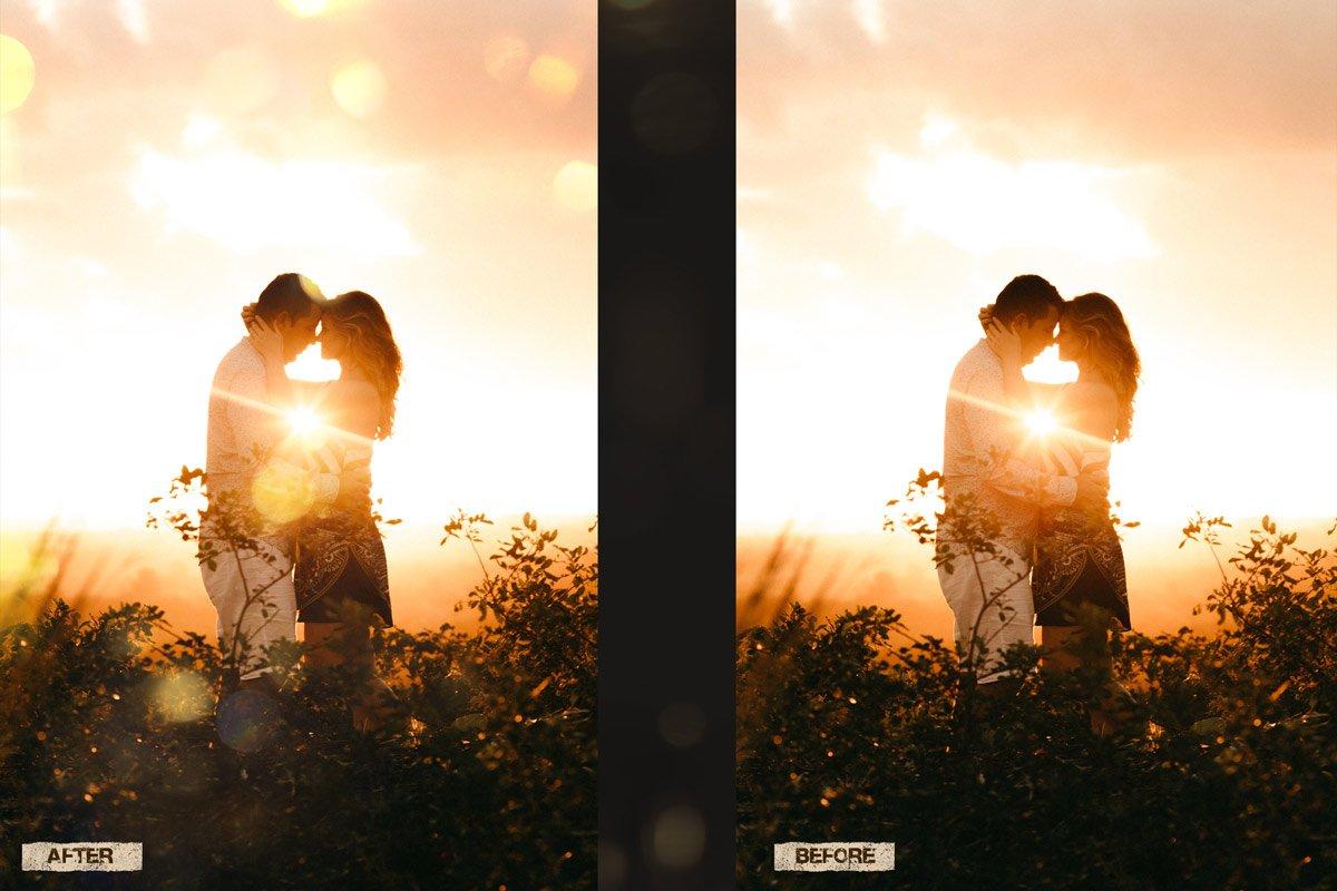 60 Golden light leak effect Overlay example image 3