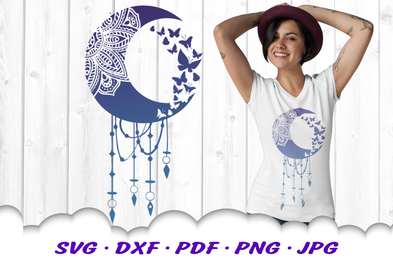 Mandala Moon Butterfly Dream Catcher SVG Cut Files Bundle example image 8