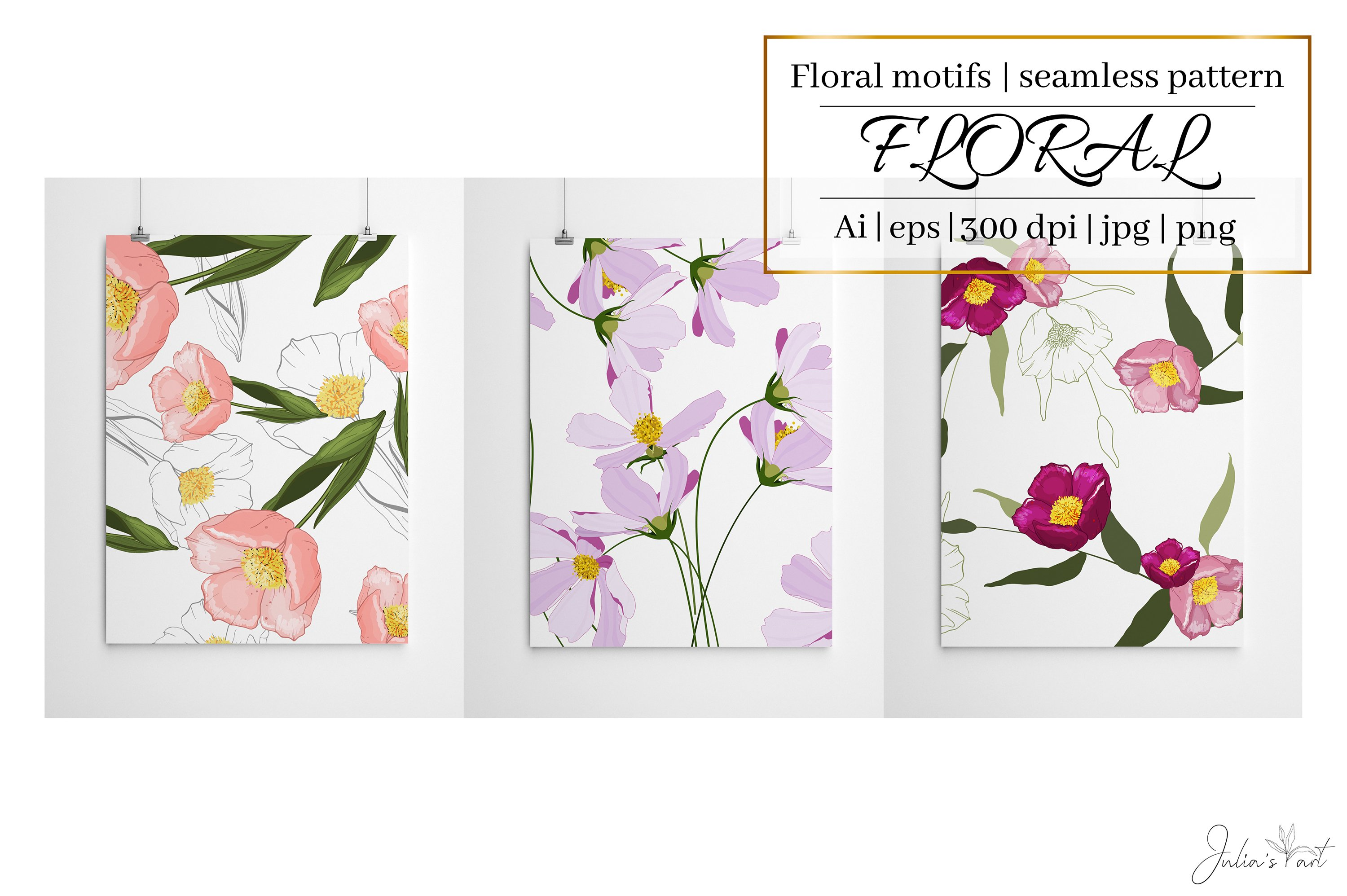 Pink flowers vector patterns - Ai, EPS, JPG, PNG example image 1