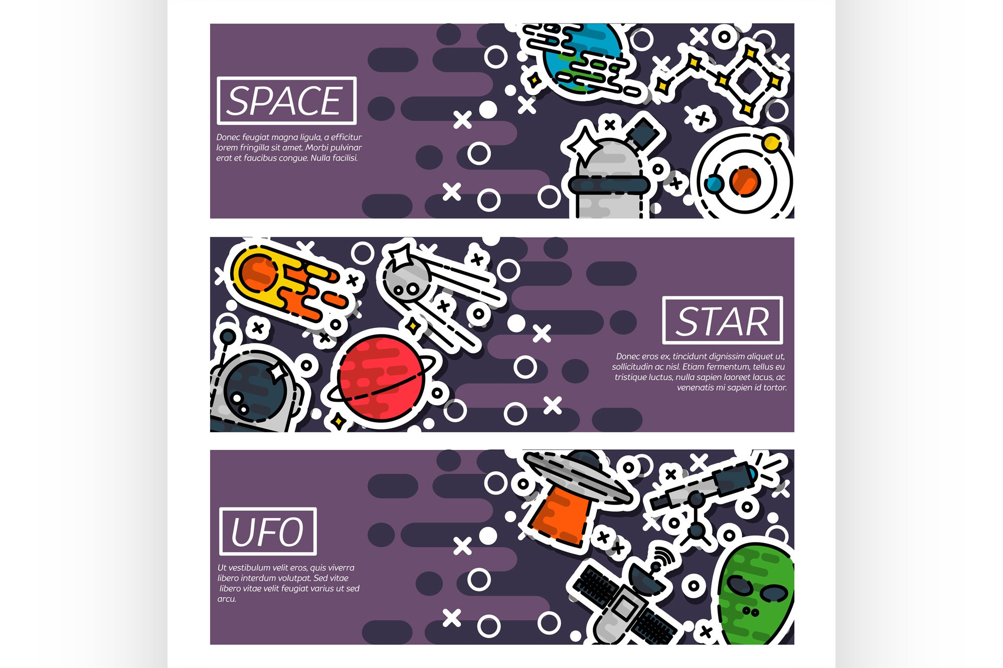 Set of Horizontal Banners about space example image 1