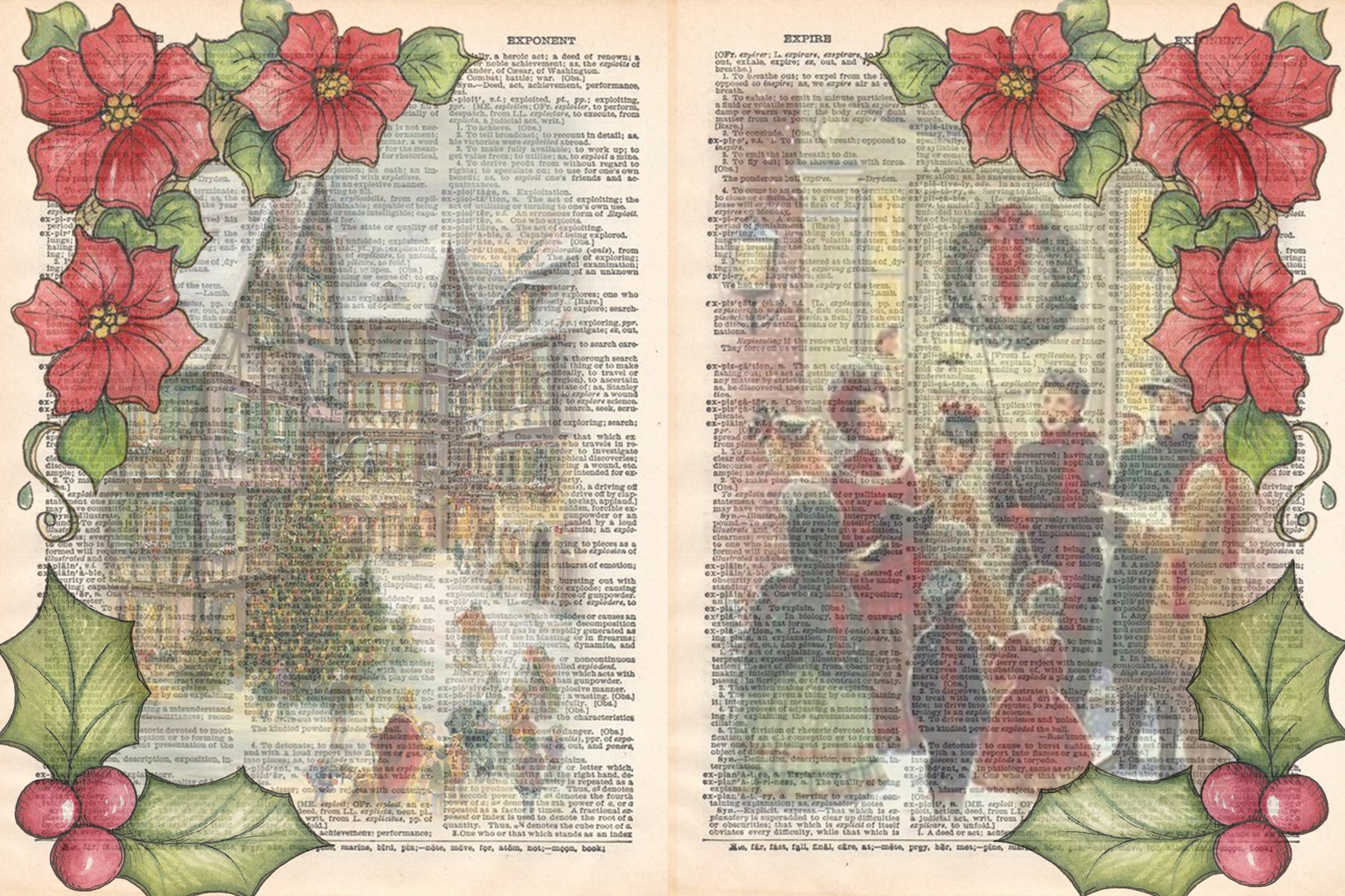 Victorian Christmas Backgrounds and Clipart JPEG PNG PDF example image 3