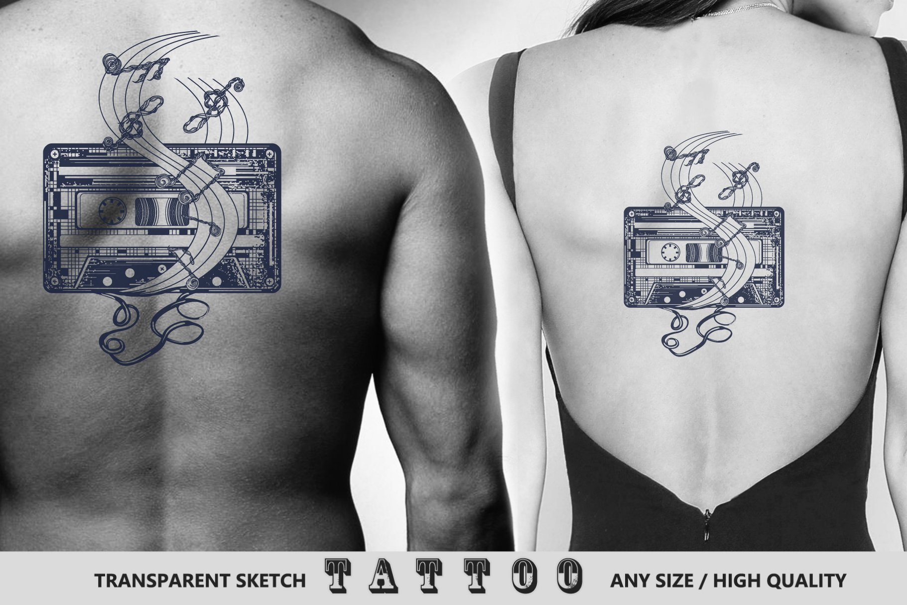 Retro music tattoo example image 2