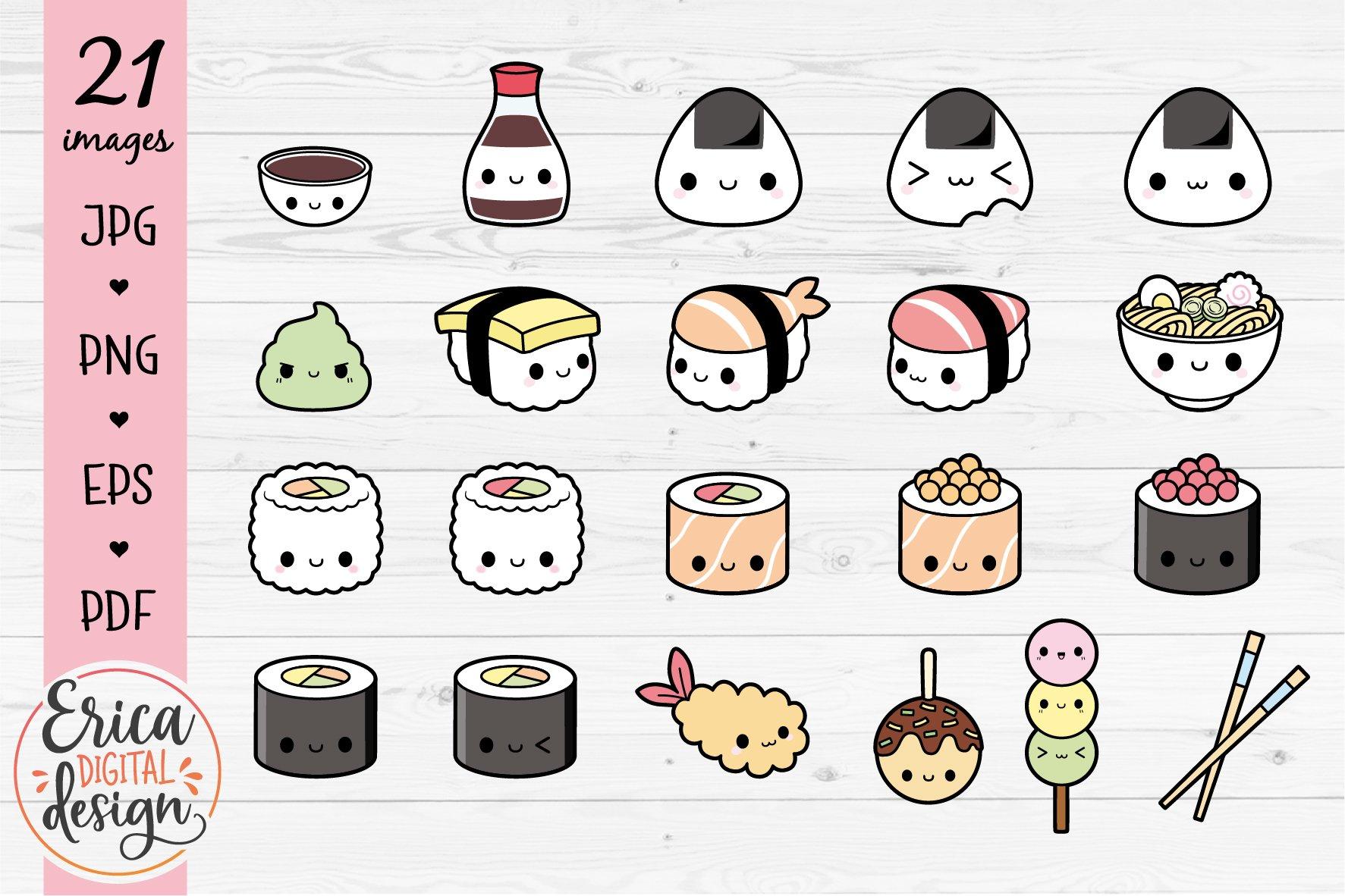 Kawaii Sushi Clipart Bundle Cute Sushi Nigiri Maki Onigiri 968153 Illustrations Design Bundles
