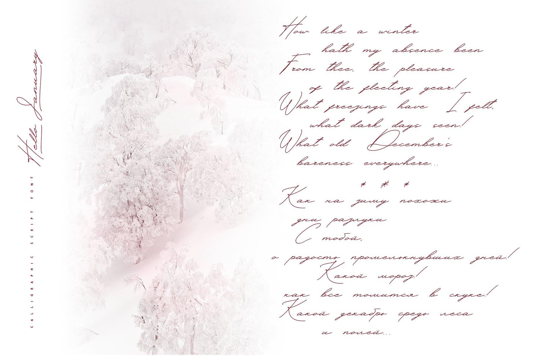 Hello January cursiv font Cyrillic example image 17