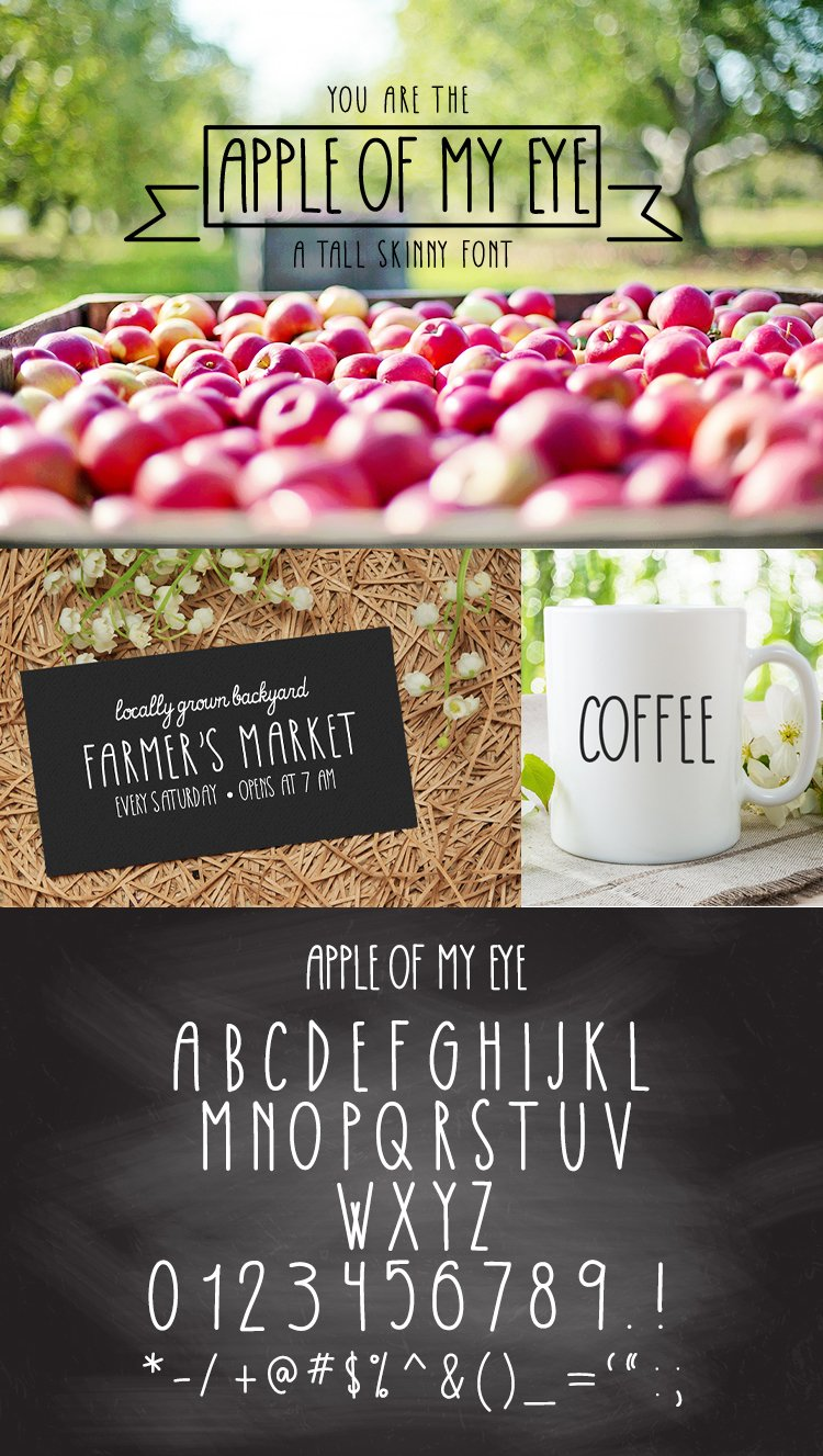 Apple Of My Eye Skinny Tall Font example image 5
