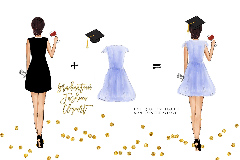 College Senior Graduation Girl Gold Fashion clipart example image 6